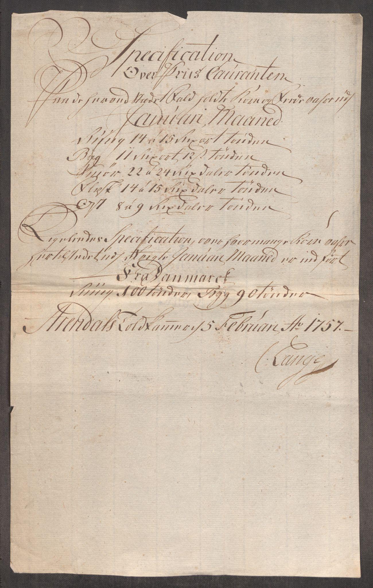 RA, Rentekammeret inntil 1814, Realistisk ordnet avdeling, Oe/L0005: [Ø1]: Priskuranter, 1753-1757, s. 888