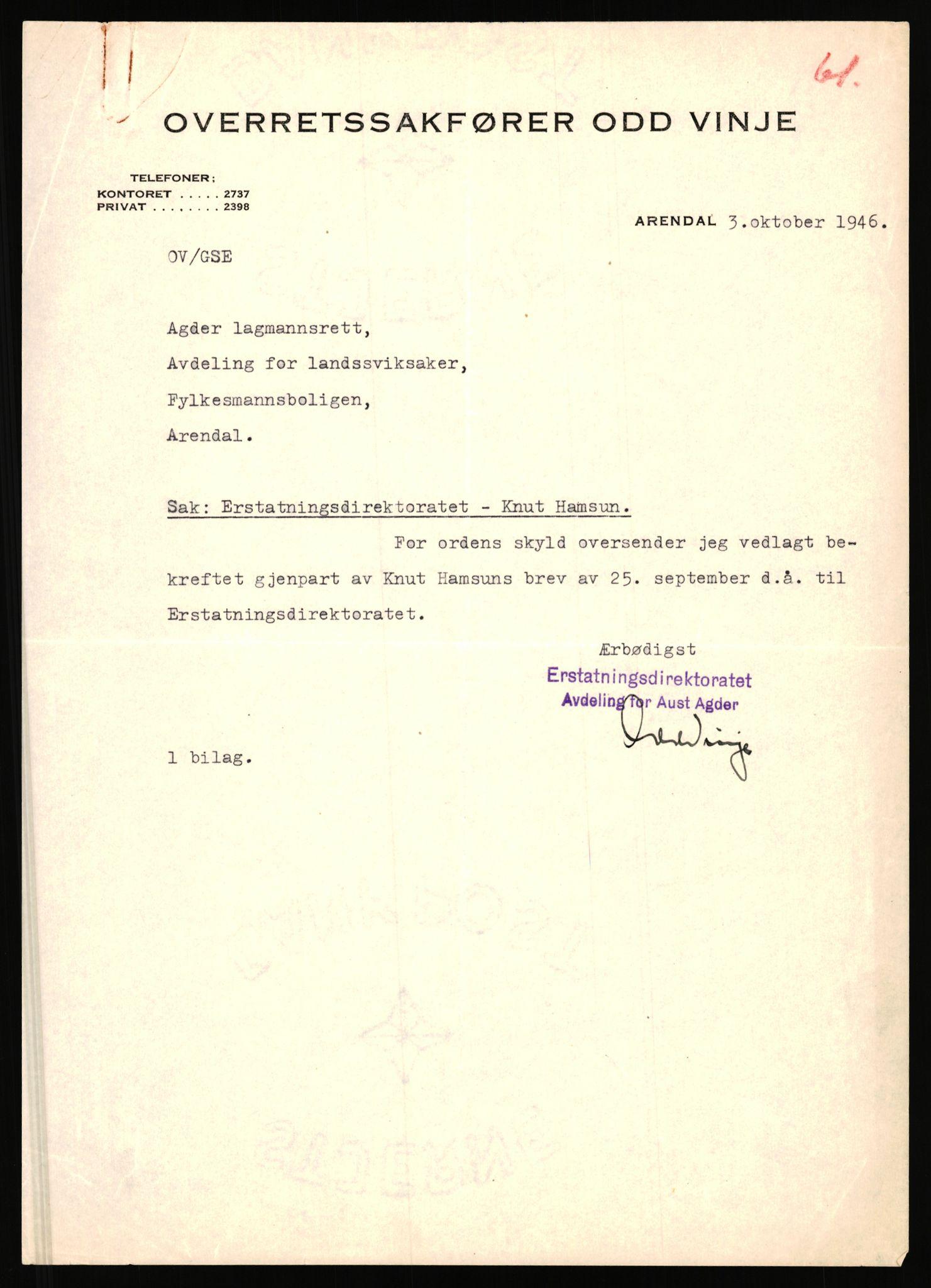 RA, Landssvikarkivet, Arendal politikammer, D/Dc/L0029: Anr. 192/45, 1945-1951, s. 648