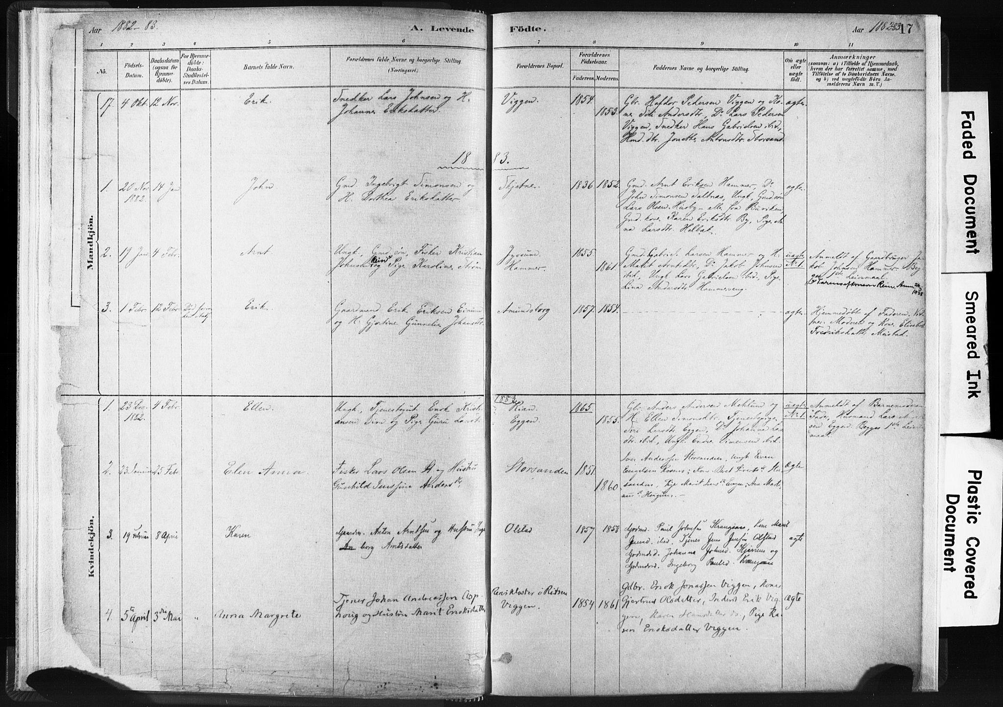 SAT, Ministerialprotokoller, klokkerbøker og fødselsregistre - Sør-Trøndelag, 665/L0773: Ministerialbok nr. 665A08, 1879-1905, s. 17
