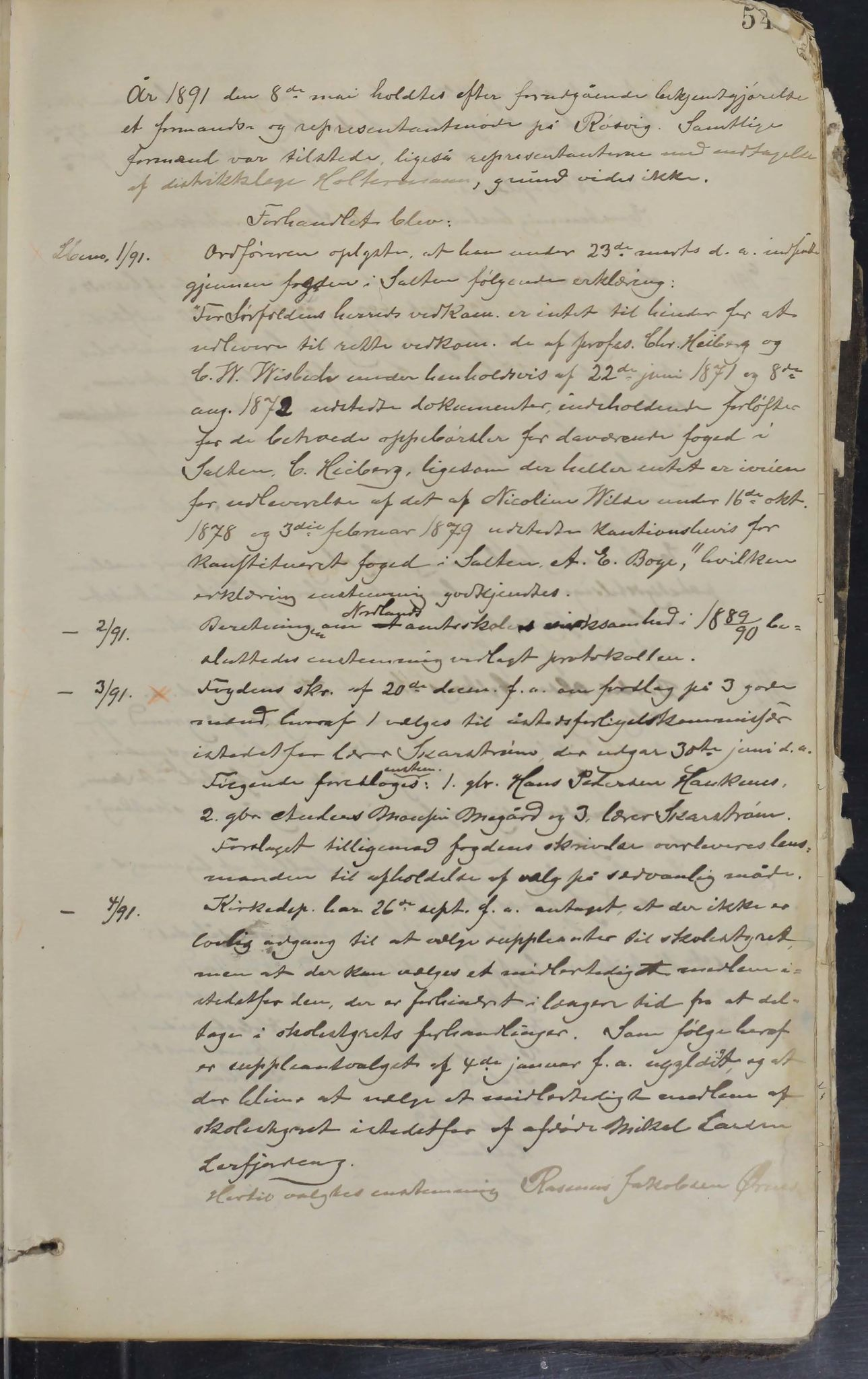 AIN, Sørfold kommune. Formannskap, 100/L0001: Forhandlingsprotokol for Sørfoldens formandskab, 1885-1902, s. 54