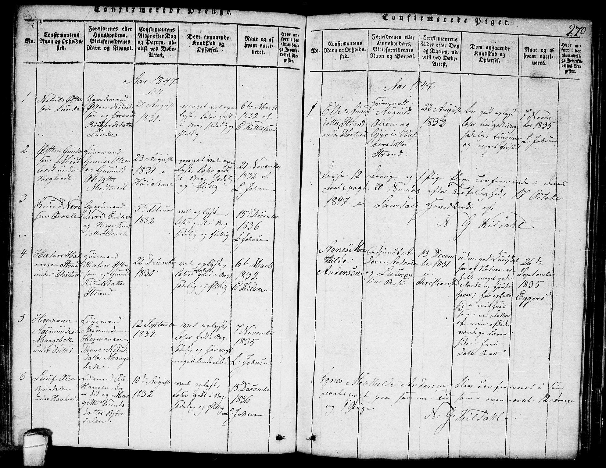 SAKO, Lårdal kirkebøker, G/Ga/L0001: Klokkerbok nr. I 1, 1815-1861, s. 270