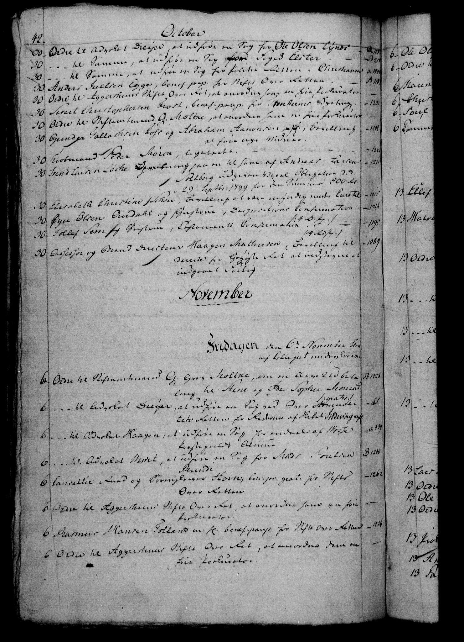 RA, Danske Kanselli 1800-1814, H/Hf/Hfb/Hfbc/L0002: Underskrivelsesbok m. register, 1801, s. 42