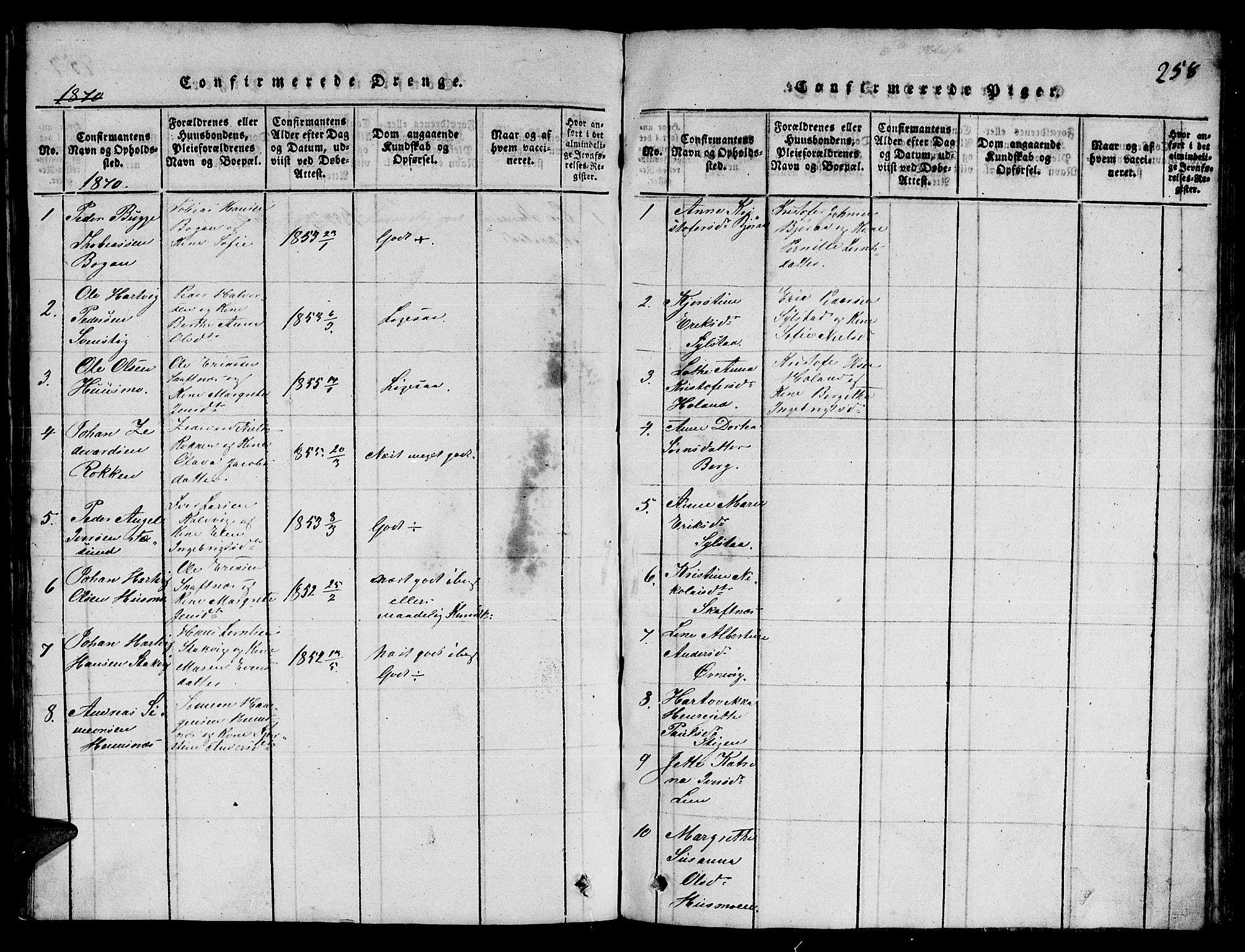 SAT, Ministerialprotokoller, klokkerbøker og fødselsregistre - Nord-Trøndelag, 780/L0648: Klokkerbok nr. 780C01 /3, 1815-1877, s. 258