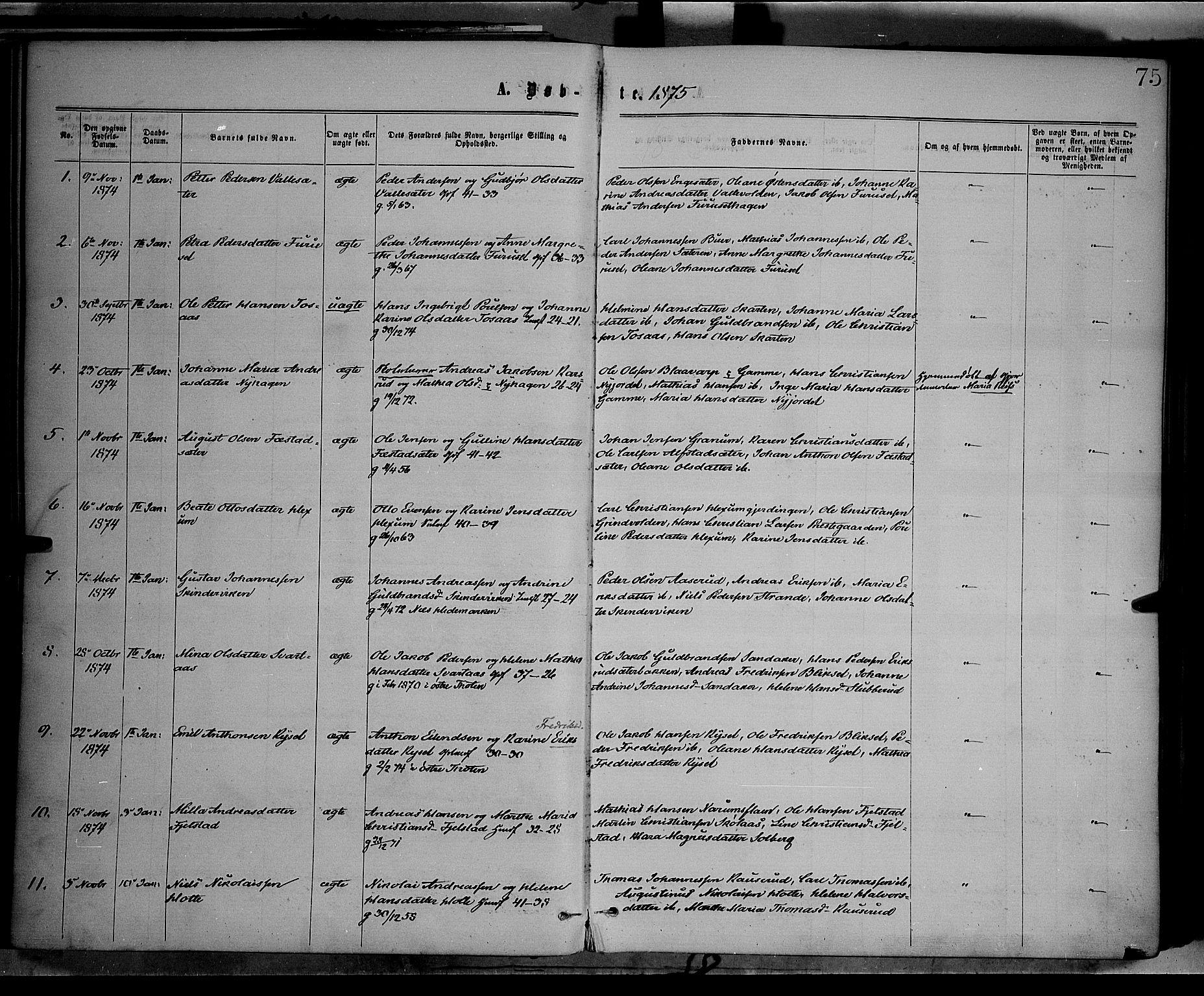 SAH, Vestre Toten prestekontor, Ministerialbok nr. 8, 1870-1877, s. 75