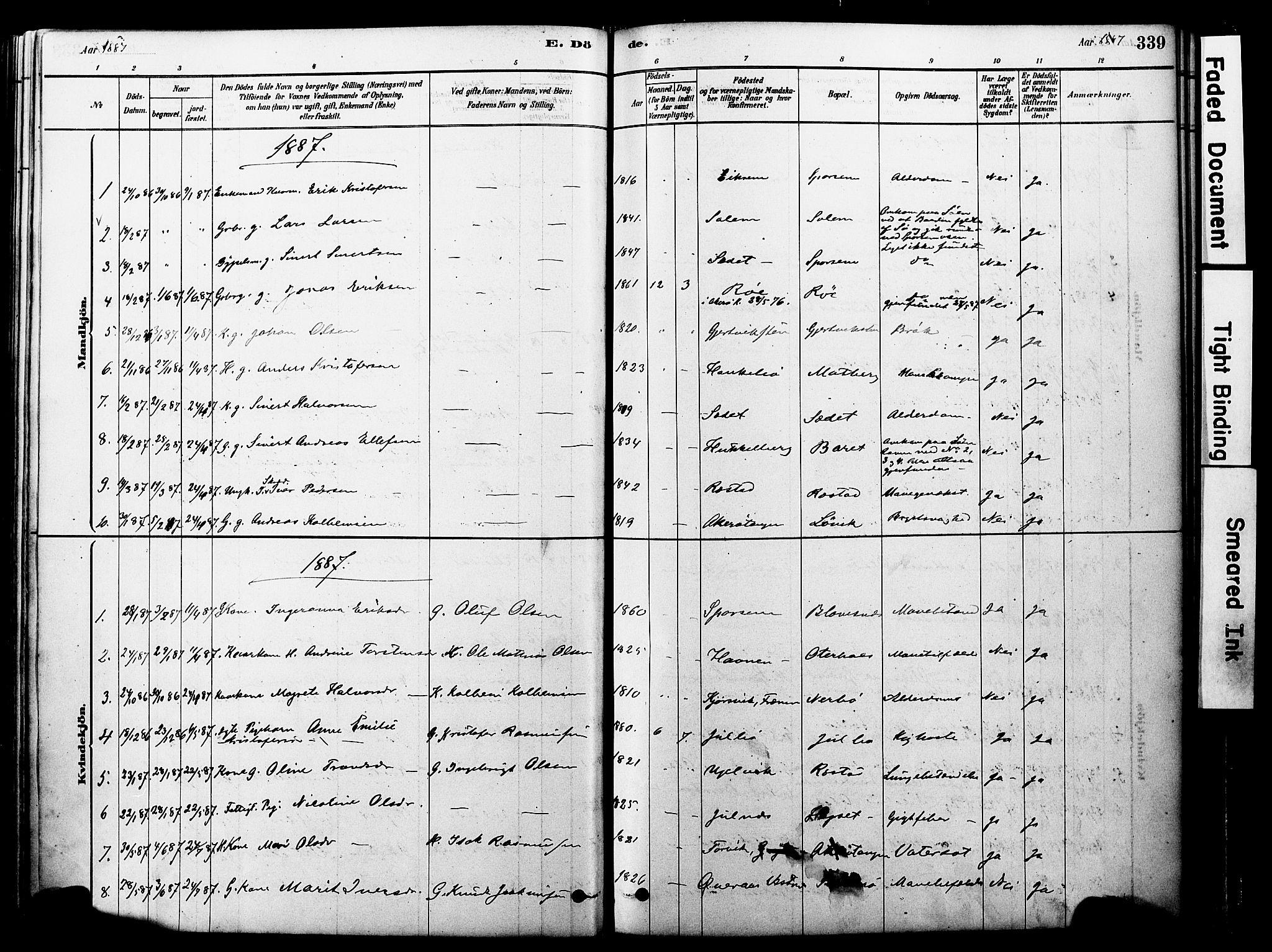 SAT, Ministerialprotokoller, klokkerbøker og fødselsregistre - Møre og Romsdal, 560/L0721: Ministerialbok nr. 560A05, 1878-1917, s. 339