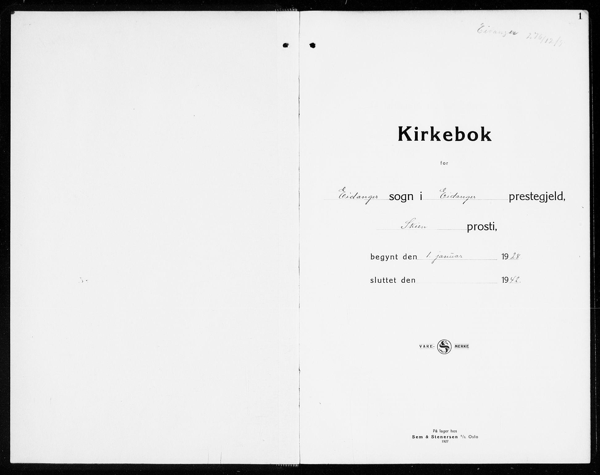 SAKO, Eidanger kirkebøker, G/Ga/L0005: Klokkerbok nr. 5, 1928-1942, s. 1