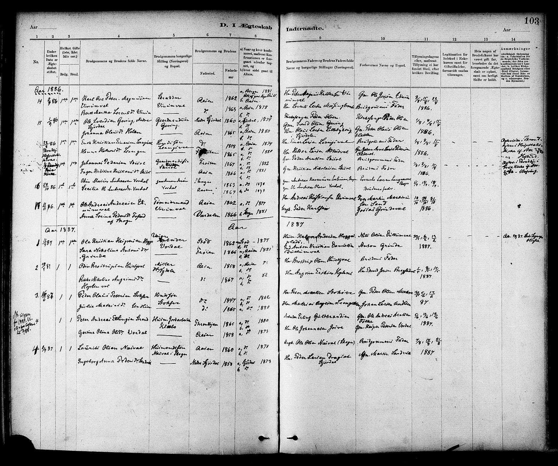 SAT, Ministerialprotokoller, klokkerbøker og fødselsregistre - Nord-Trøndelag, 714/L0130: Ministerialbok nr. 714A01, 1878-1895, s. 103