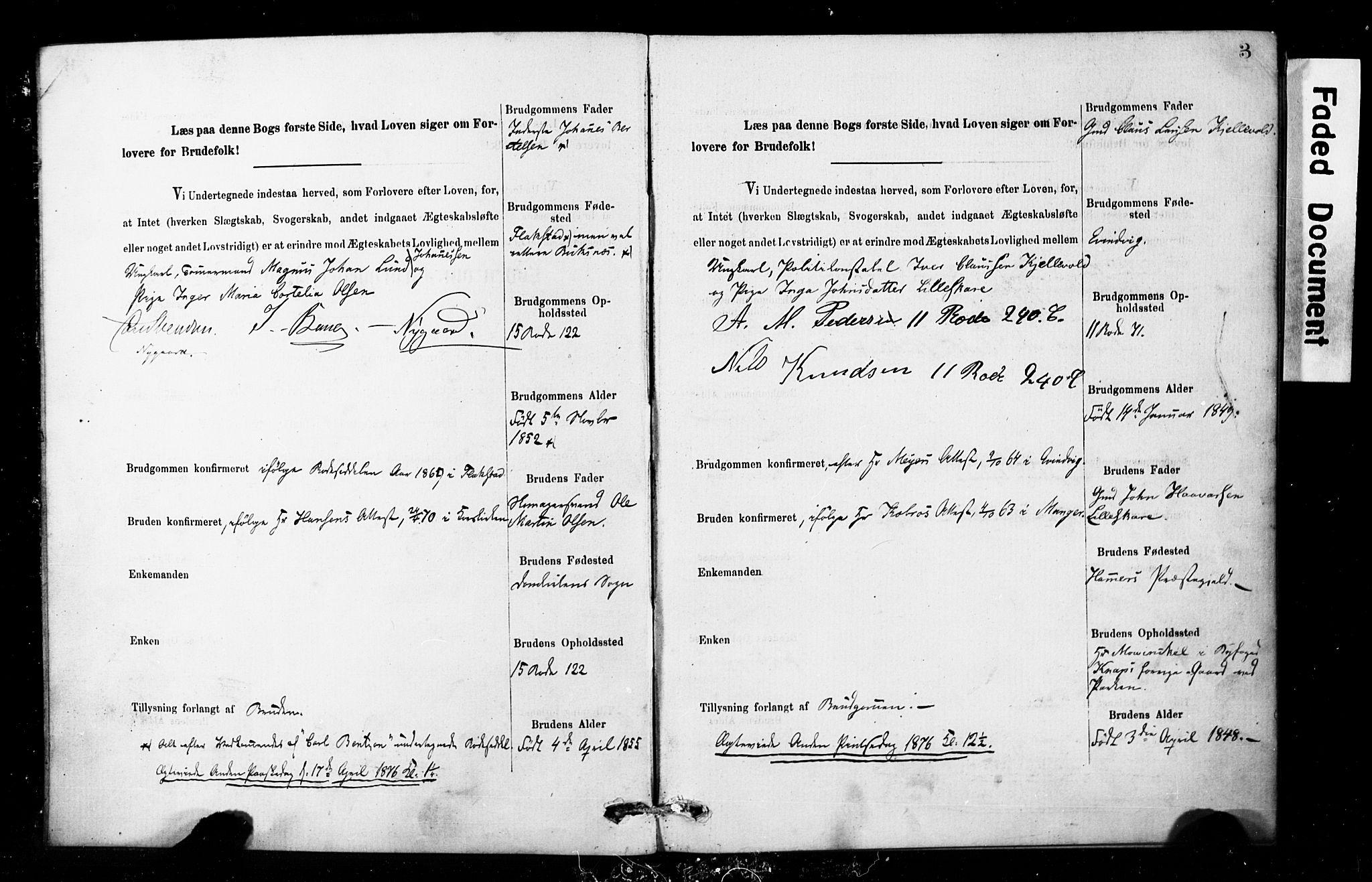 SAB, Domkirken Sokneprestembete, Forlovererklæringer nr. II.5.8, 1876-1882, s. 3
