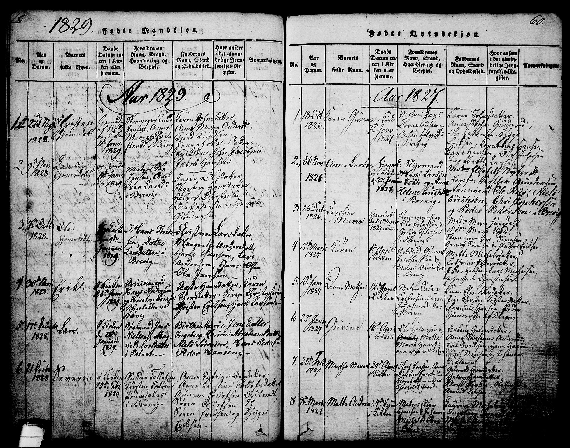SAKO, Brevik kirkebøker, G/Ga/L0001: Klokkerbok nr. 1, 1814-1845, s. 60