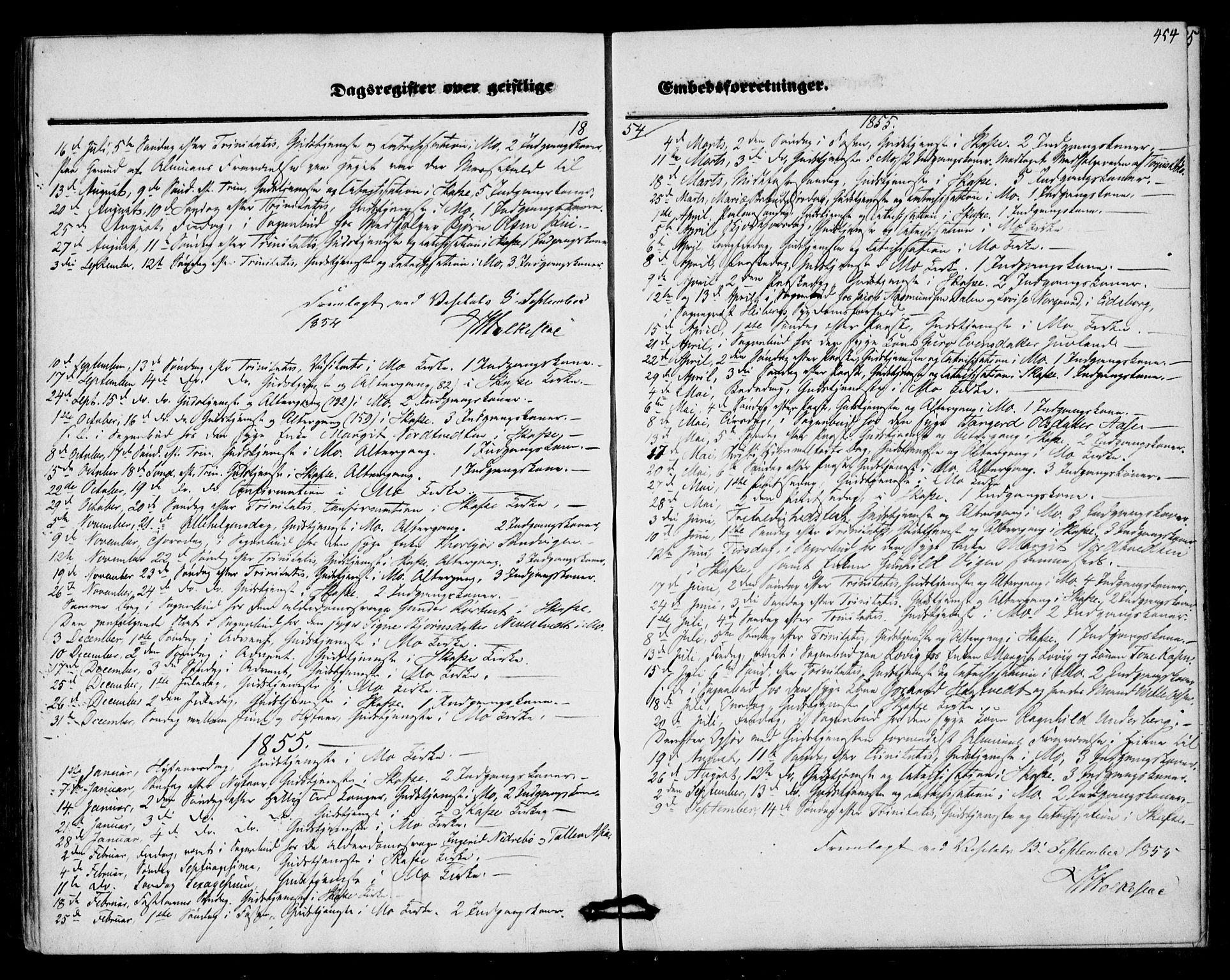 SAKO, Mo kirkebøker, F/Fa/L0005: Ministerialbok nr. I 5, 1844-1864, s. 454