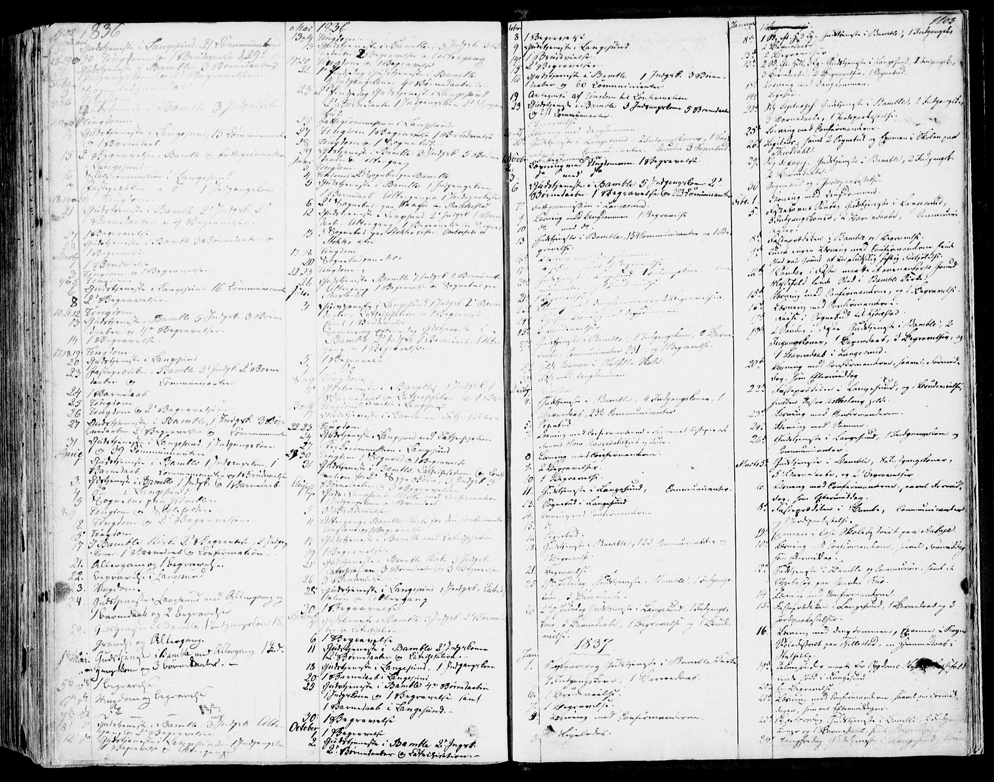 SAKO, Bamble kirkebøker, F/Fa/L0004: Ministerialbok nr. I 4, 1834-1853, s. 1102-1103