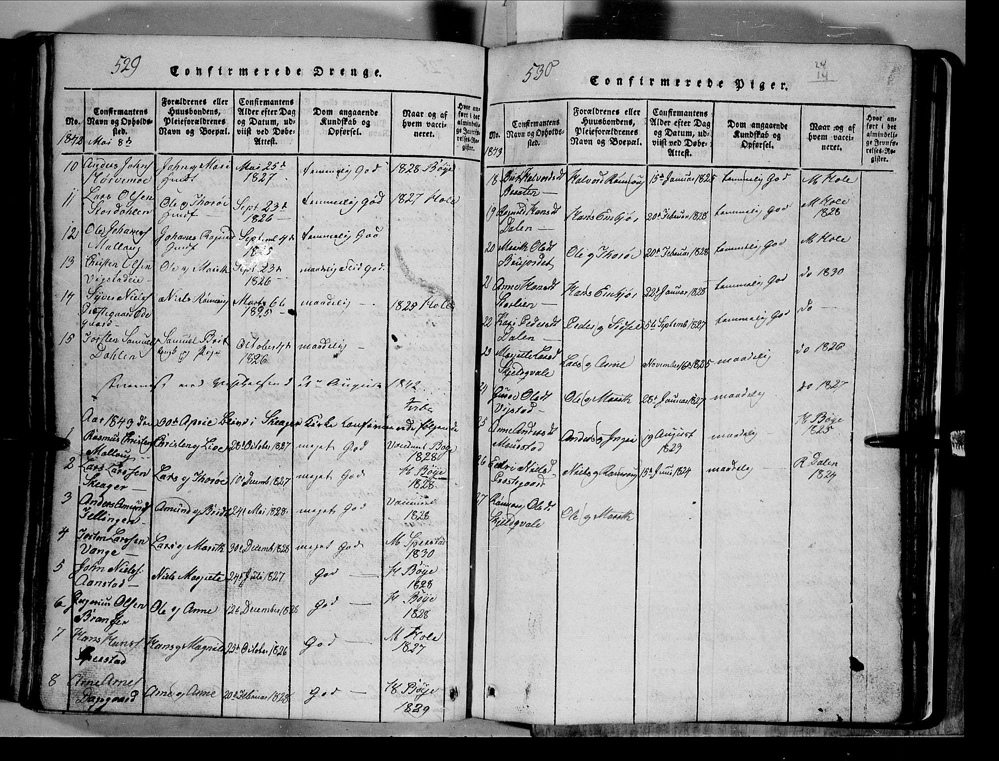 SAH, Lom prestekontor, L/L0003: Klokkerbok nr. 3, 1815-1844, s. 529-530