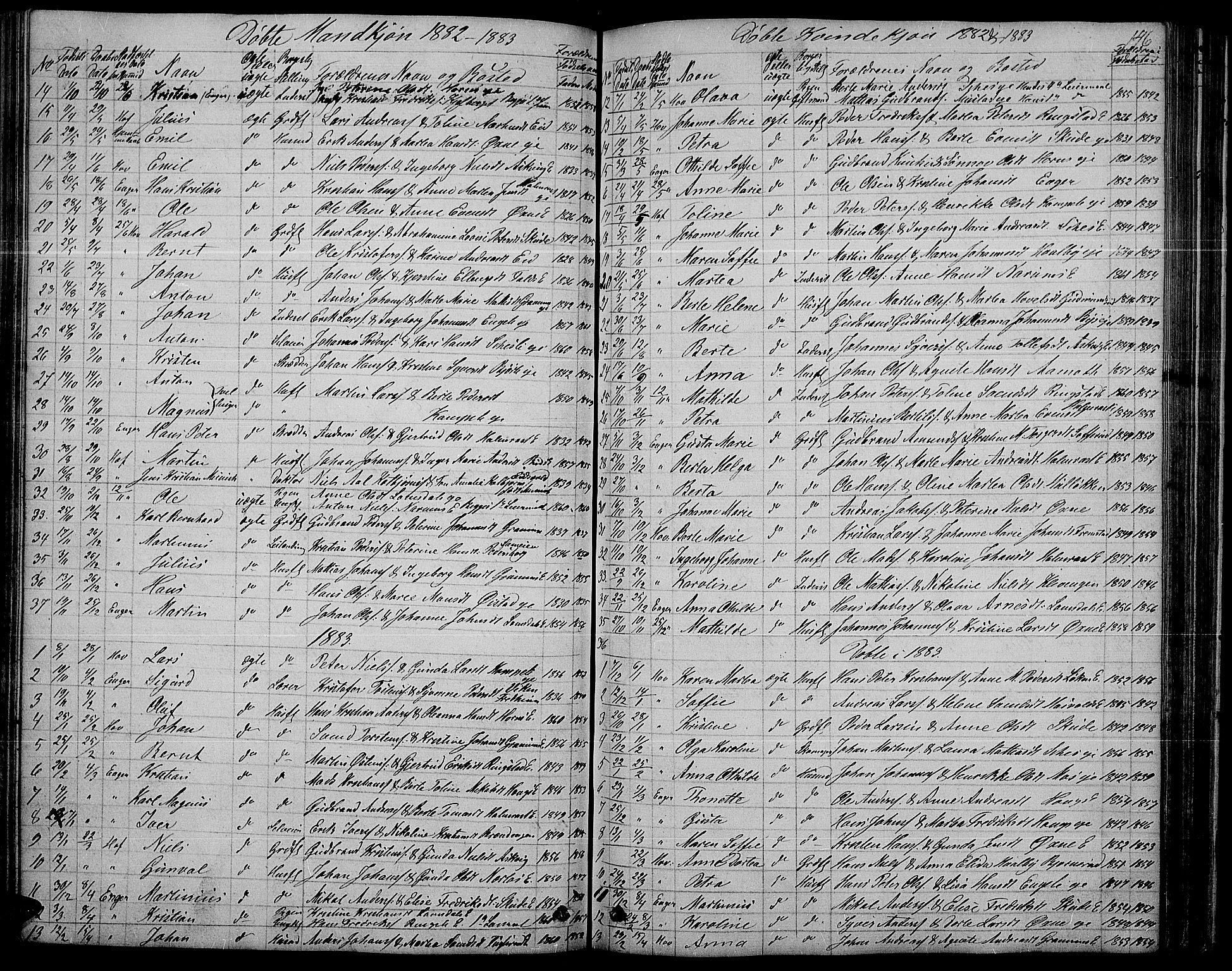 SAH, Søndre Land prestekontor, L/L0001: Klokkerbok nr. 1, 1849-1883, s. 146