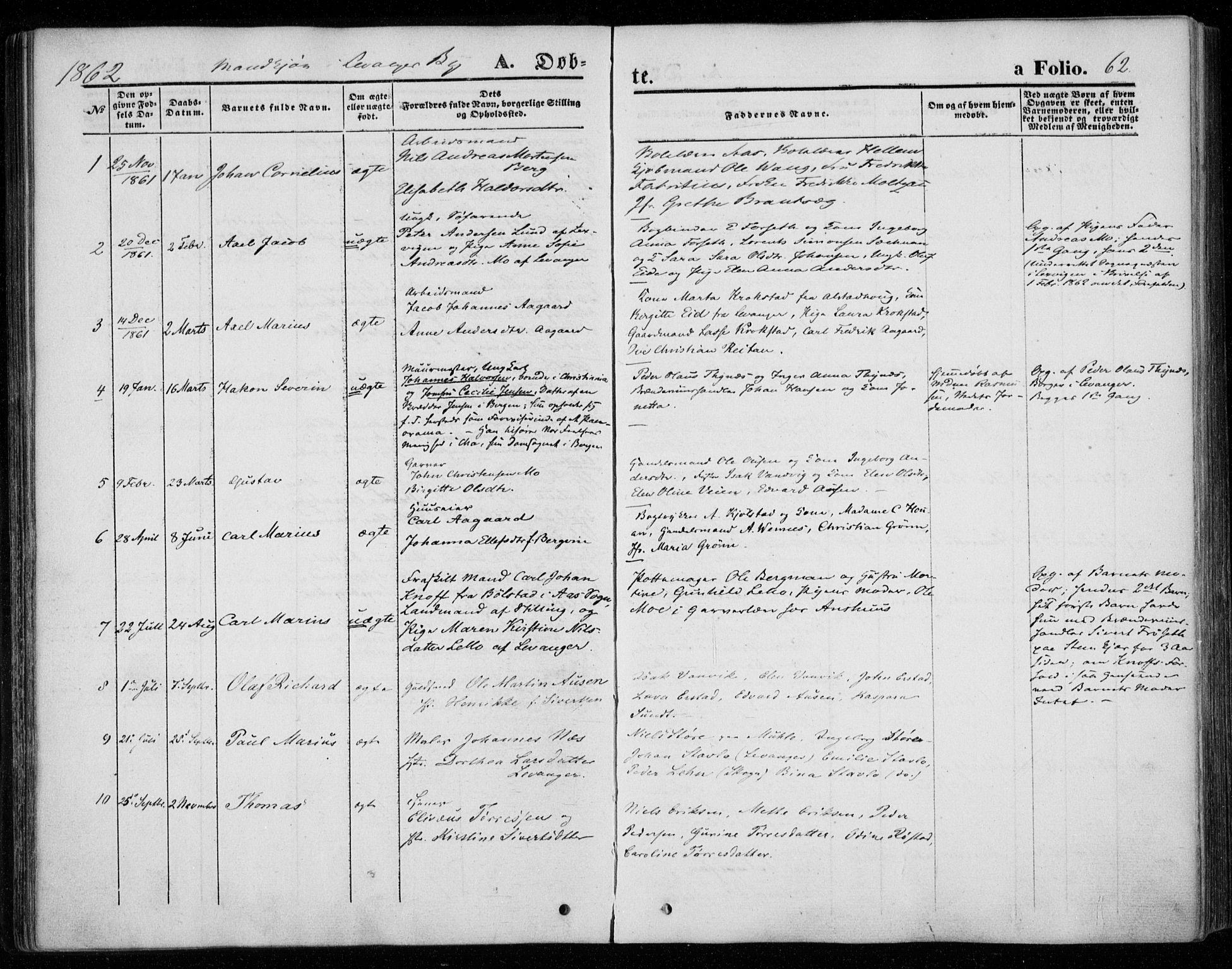 SAT, Ministerialprotokoller, klokkerbøker og fødselsregistre - Nord-Trøndelag, 720/L0184: Ministerialbok nr. 720A02 /1, 1855-1863, s. 62