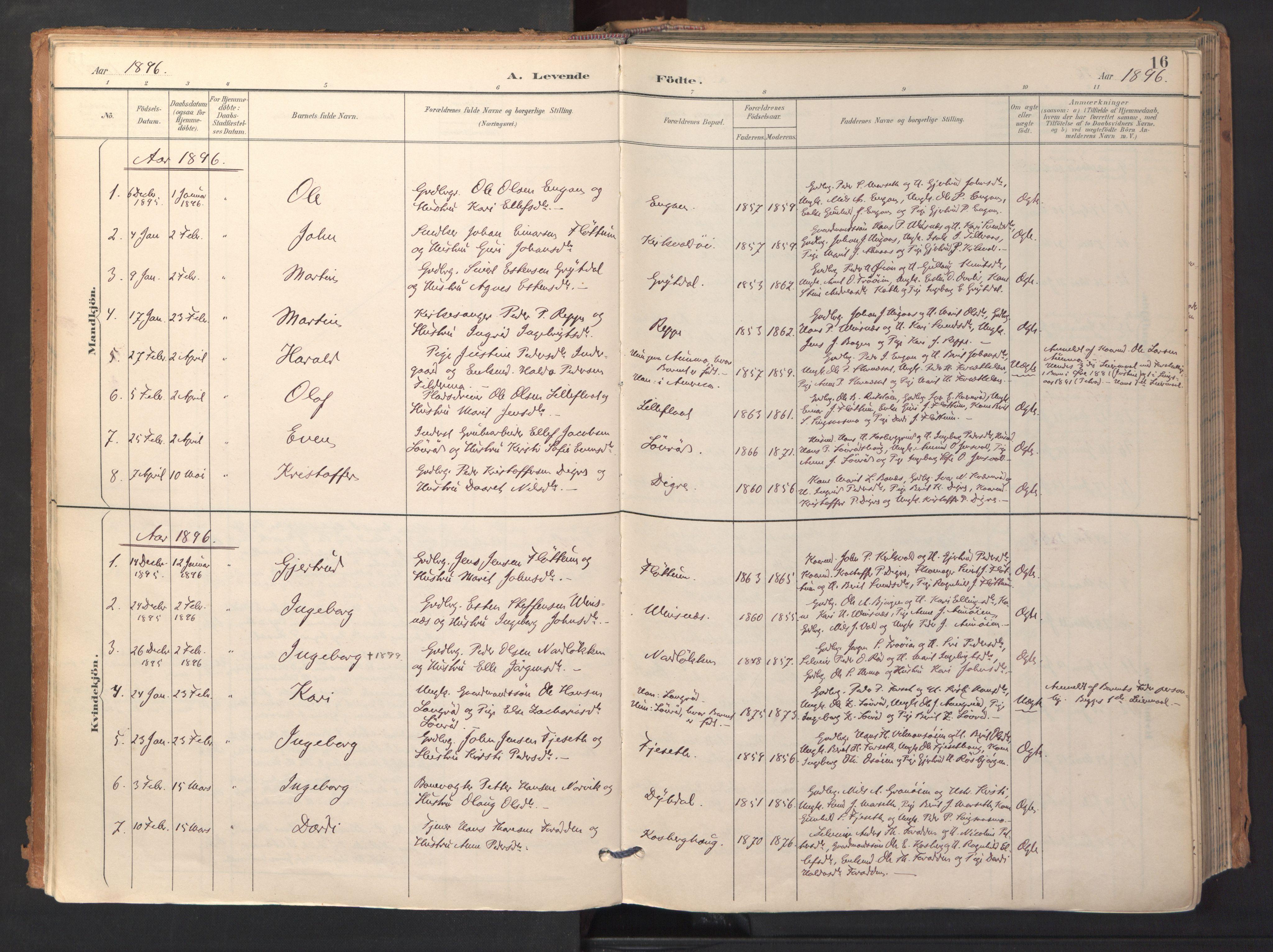 SAT, Ministerialprotokoller, klokkerbøker og fødselsregistre - Sør-Trøndelag, 688/L1025: Ministerialbok nr. 688A02, 1891-1909, s. 16