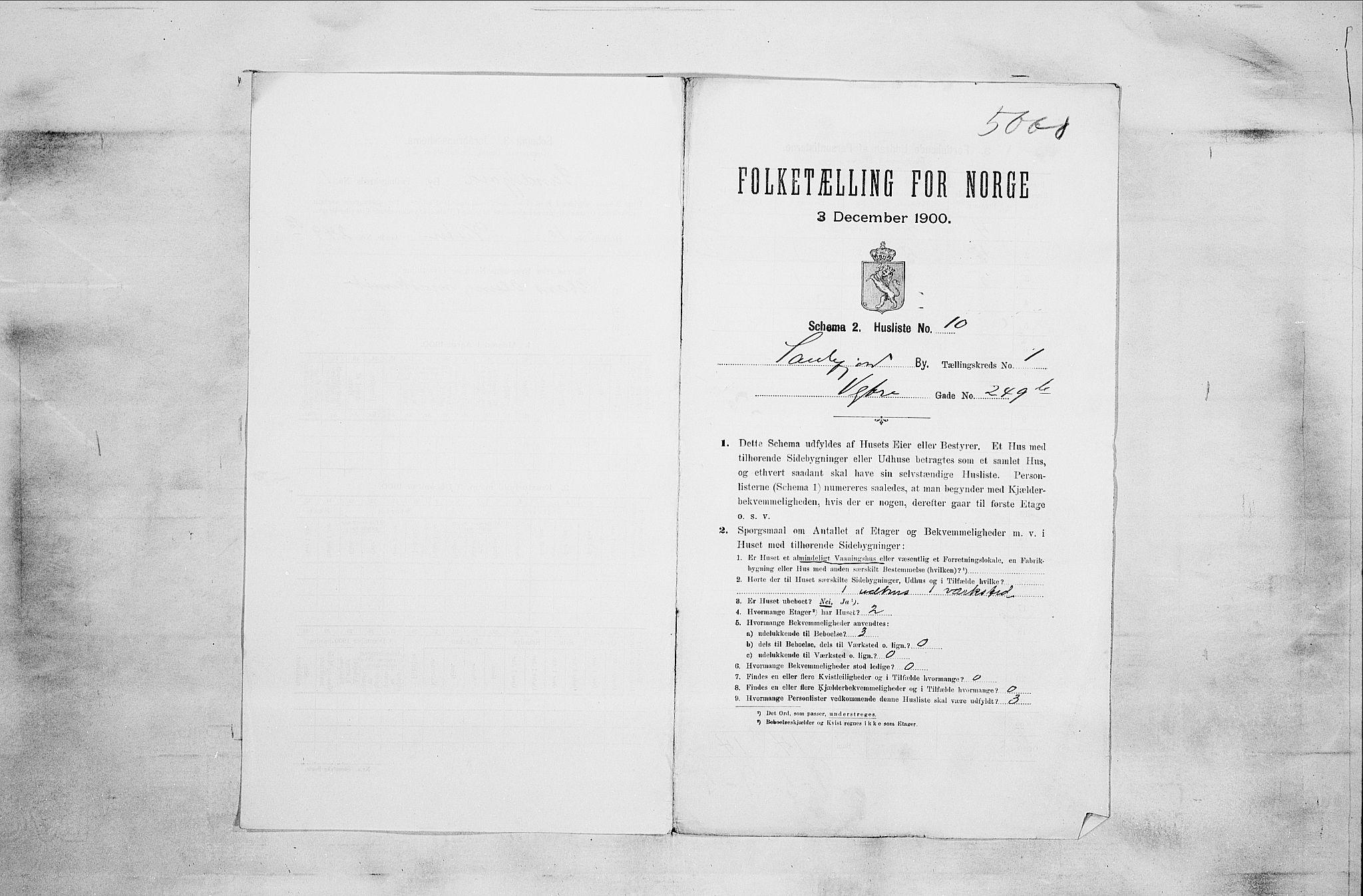 RA, Folketelling 1900 for 0706 Sandefjord kjøpstad, 1900, s. 2847