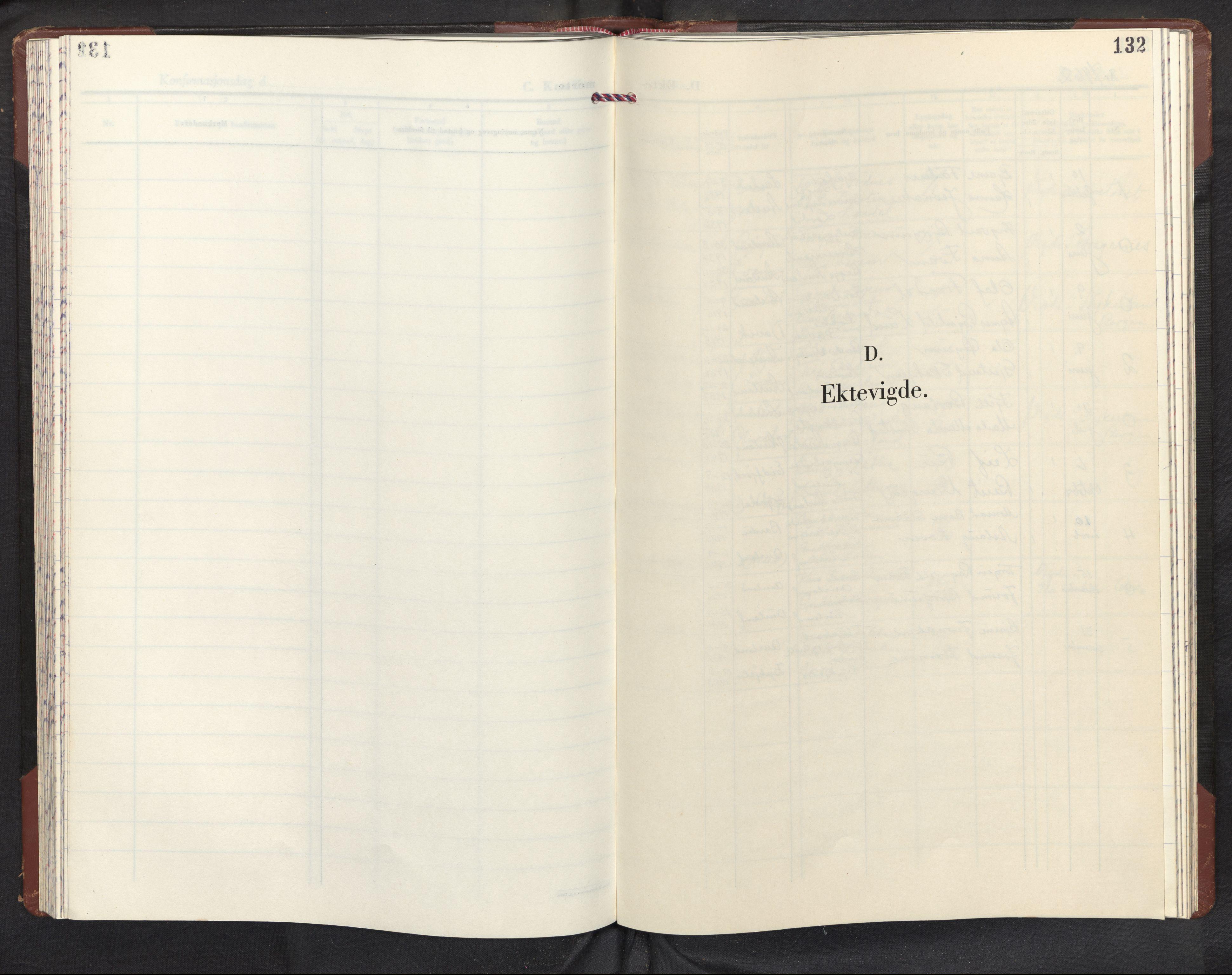 SAB, Aurland sokneprestembete, H/Hb/Hba/L0005: Klokkerbok nr. A 5, 1962-1980, s. 131b-132a