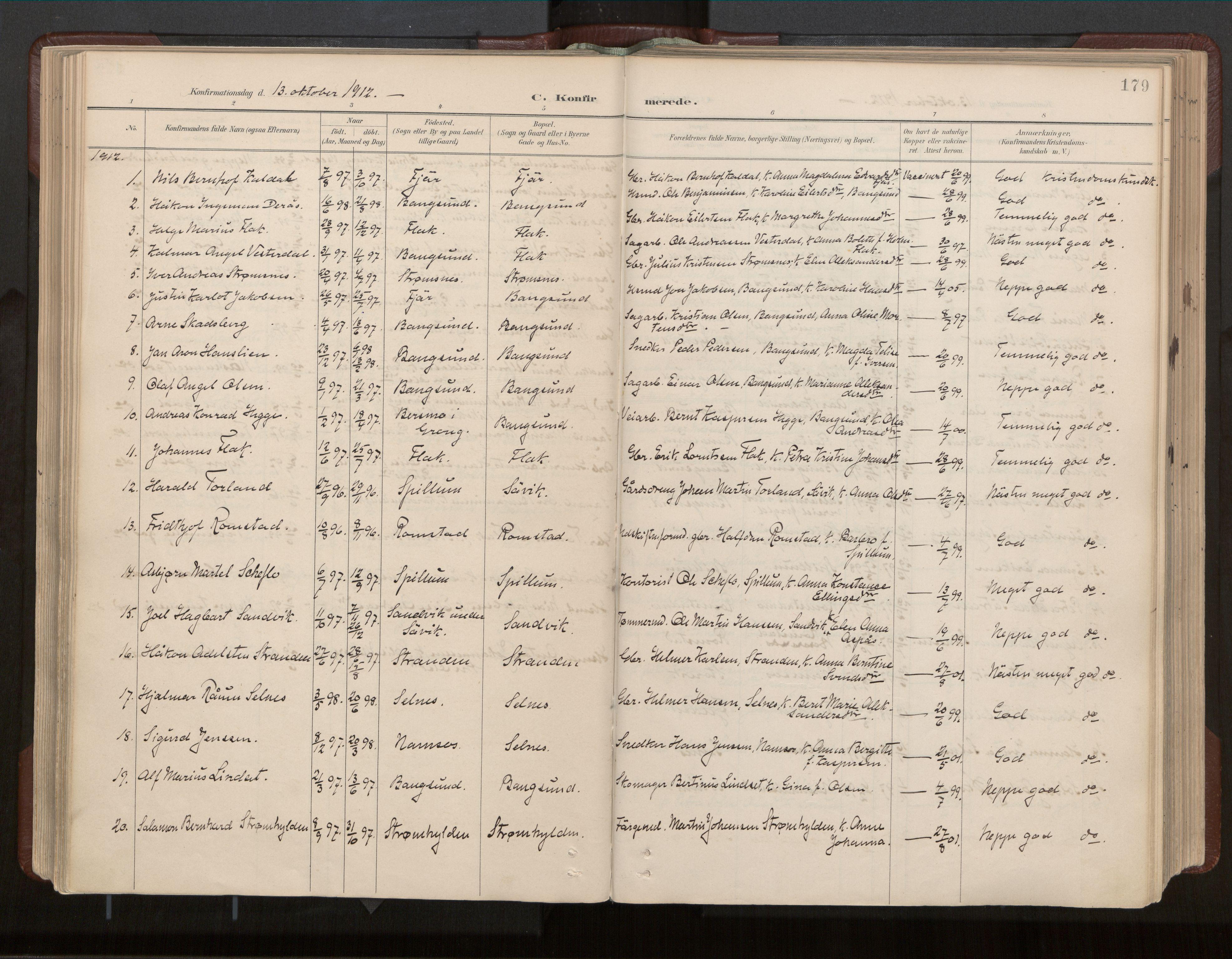 SAT, Ministerialprotokoller, klokkerbøker og fødselsregistre - Nord-Trøndelag, 770/L0589: Ministerialbok nr. 770A03, 1887-1929, s. 179