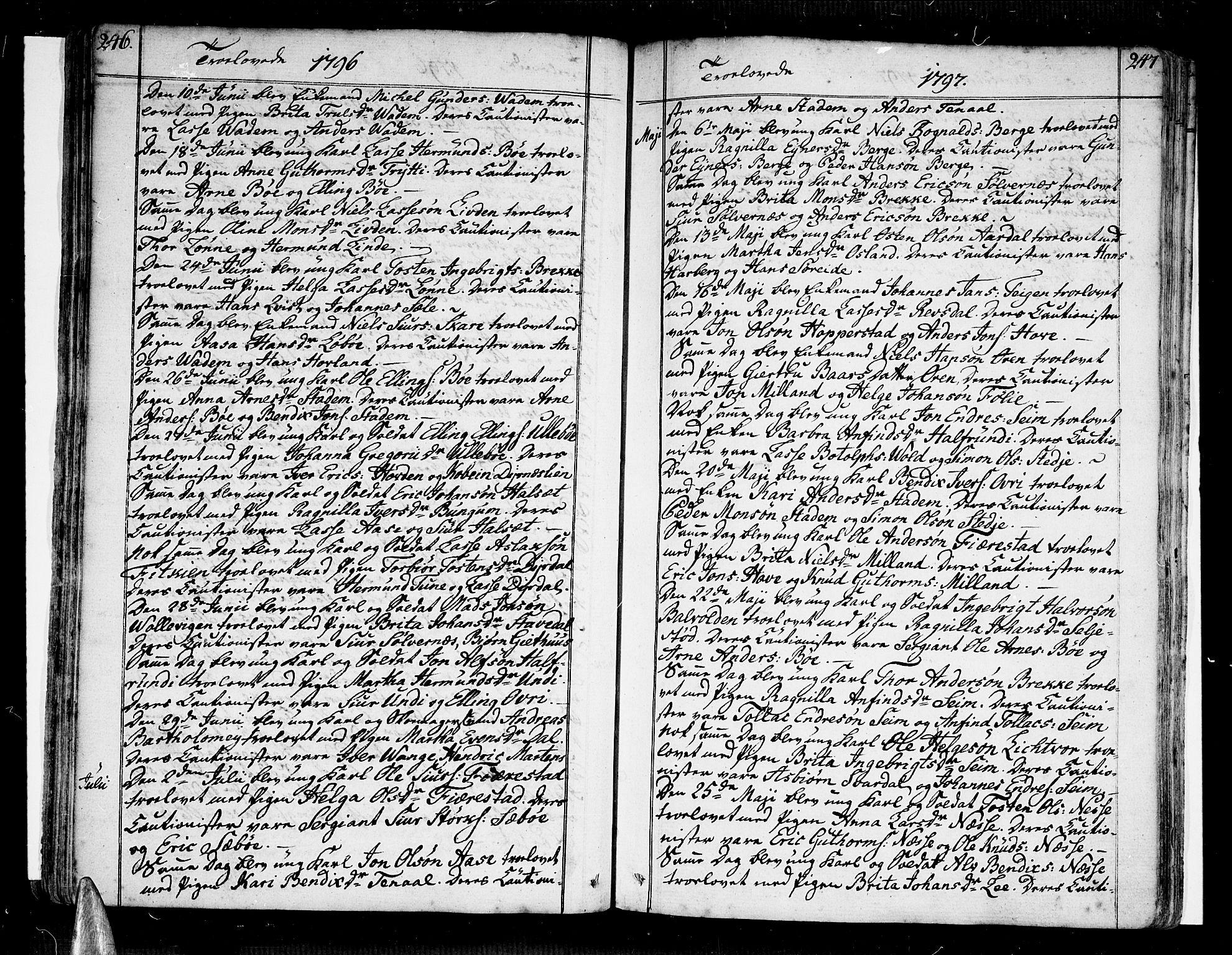 SAB, Vik Sokneprestembete, Ministerialbok nr. A 5, 1787-1820, s. 246-247