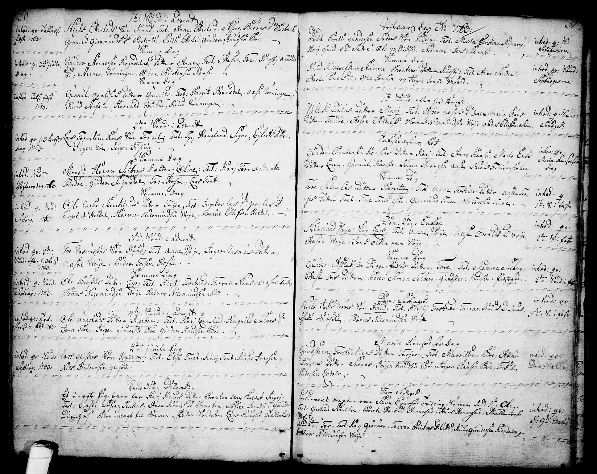 SAKO, Drangedal kirkebøker, F/Fa/L0001: Ministerialbok nr. 1, 1697-1767, s. 50-51