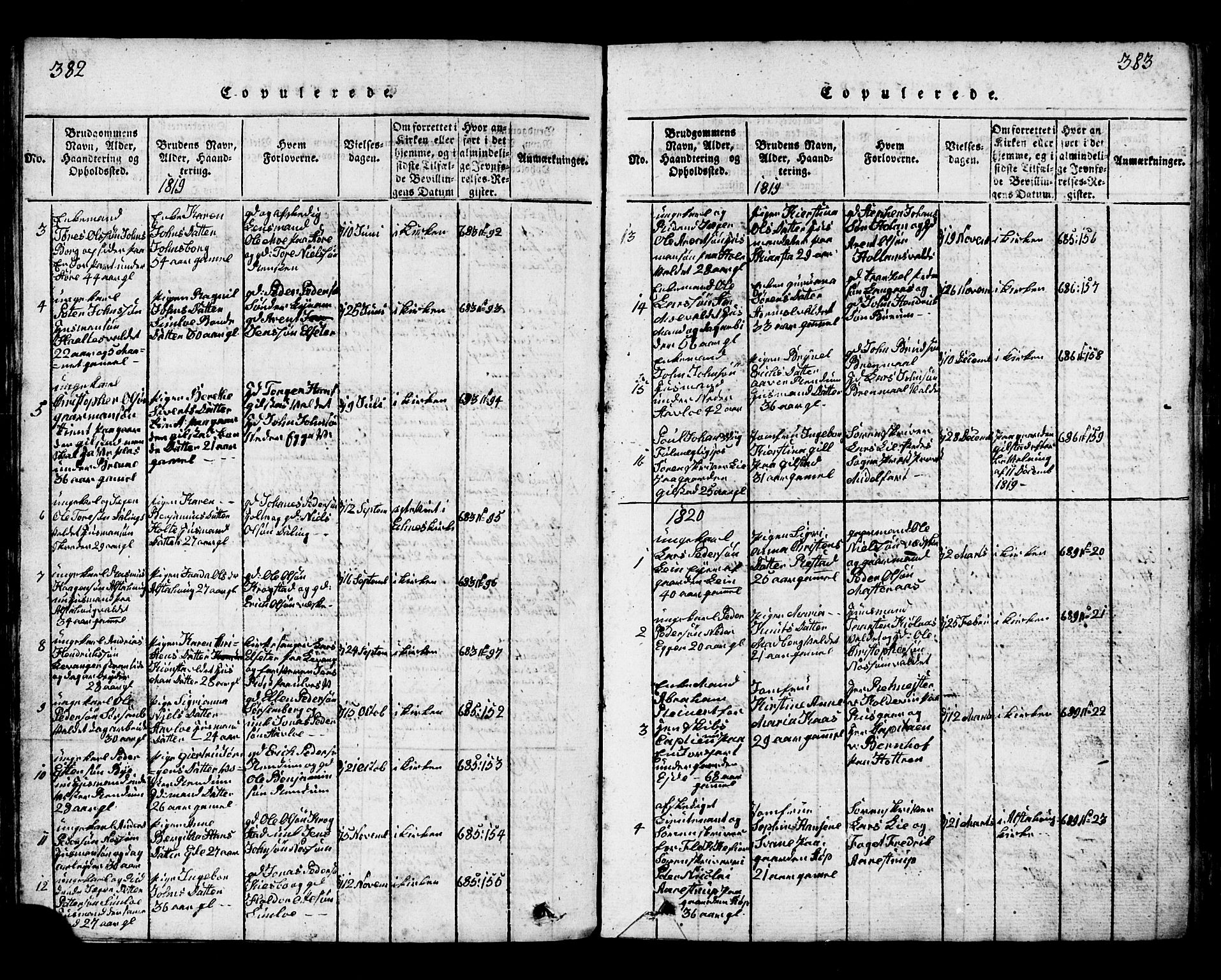 SAT, Ministerialprotokoller, klokkerbøker og fødselsregistre - Nord-Trøndelag, 717/L0169: Klokkerbok nr. 717C01, 1816-1834, s. 382-383