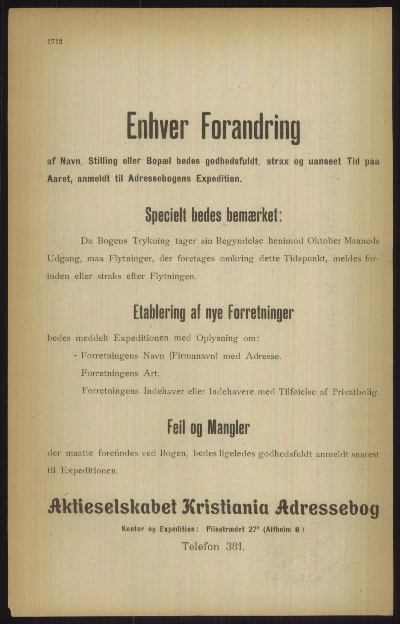 RA, Kristiania adressebok (publikasjon)*, 1911, s. 1712