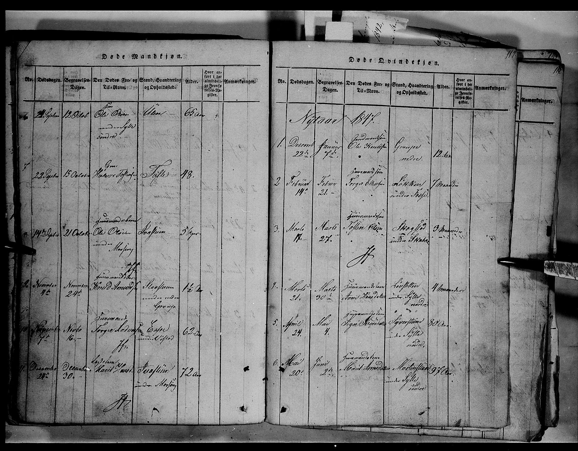 SAH, Fron prestekontor, H/Ha/Hab/L0003: Klokkerbok nr. 3, 1816-1850, s. 117