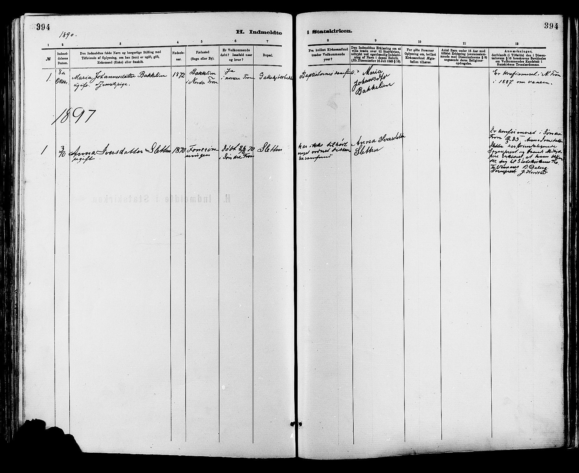 SAH, Sør-Fron prestekontor, H/Ha/Haa/L0003: Ministerialbok nr. 3, 1881-1897, s. 394