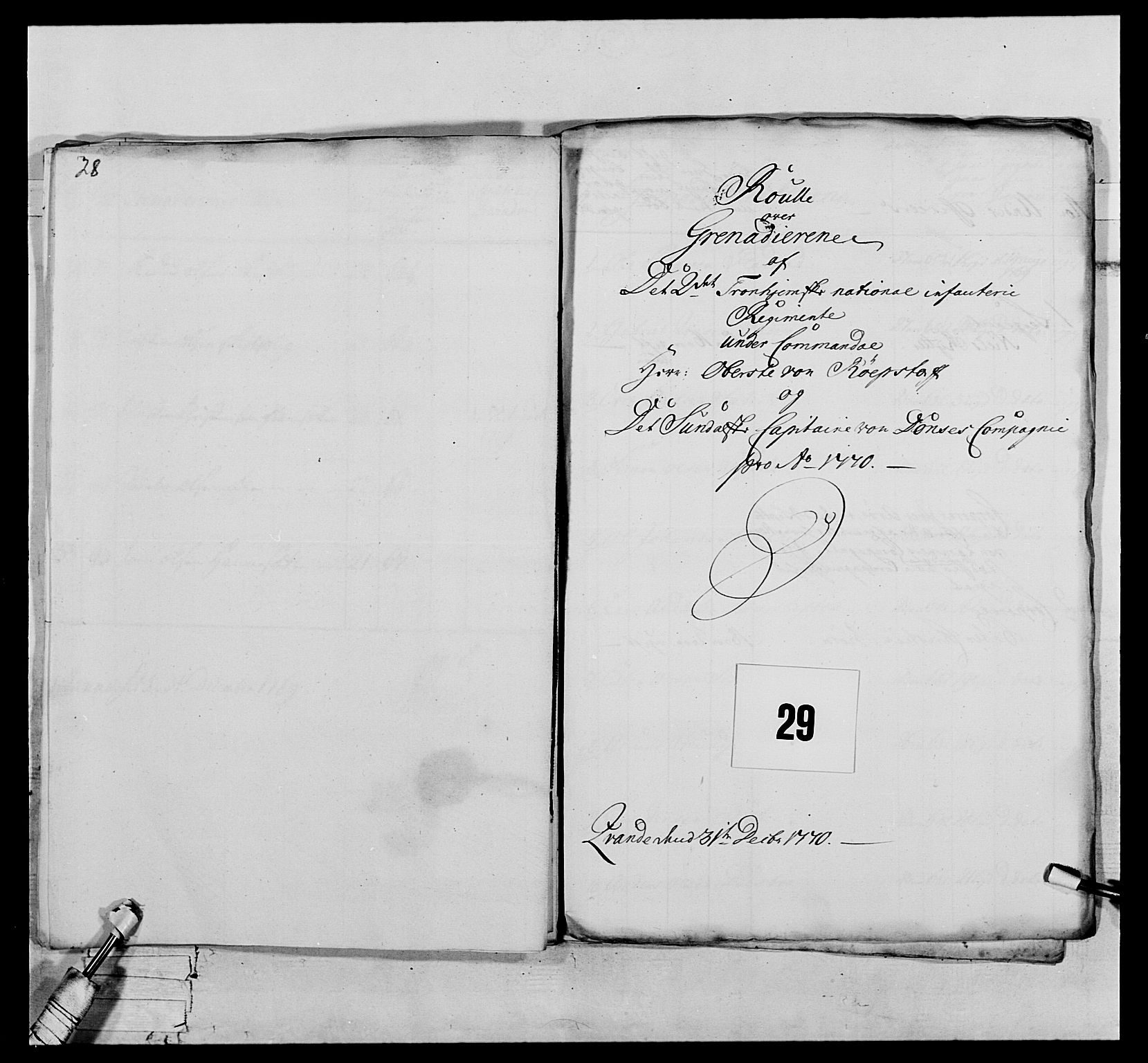 RA, Generalitets- og kommissariatskollegiet, Det kongelige norske kommissariatskollegium, E/Eh/L0076: 2. Trondheimske nasjonale infanteriregiment, 1766-1773, s. 80