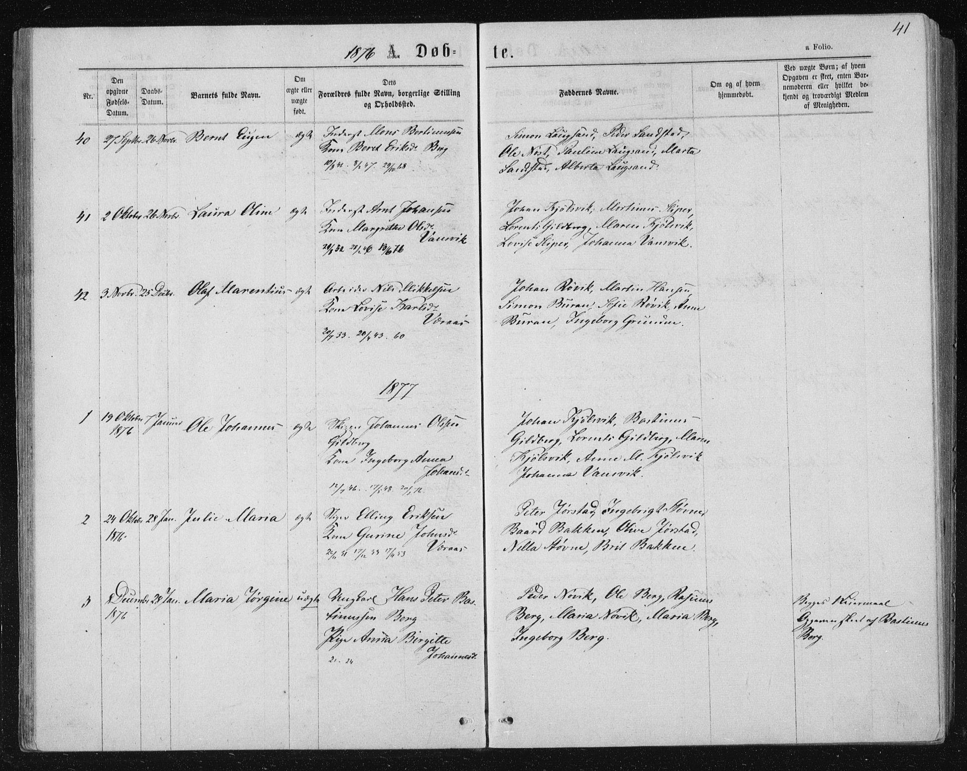 SAT, Ministerialprotokoller, klokkerbøker og fødselsregistre - Nord-Trøndelag, 722/L0219: Ministerialbok nr. 722A06, 1868-1880, s. 41