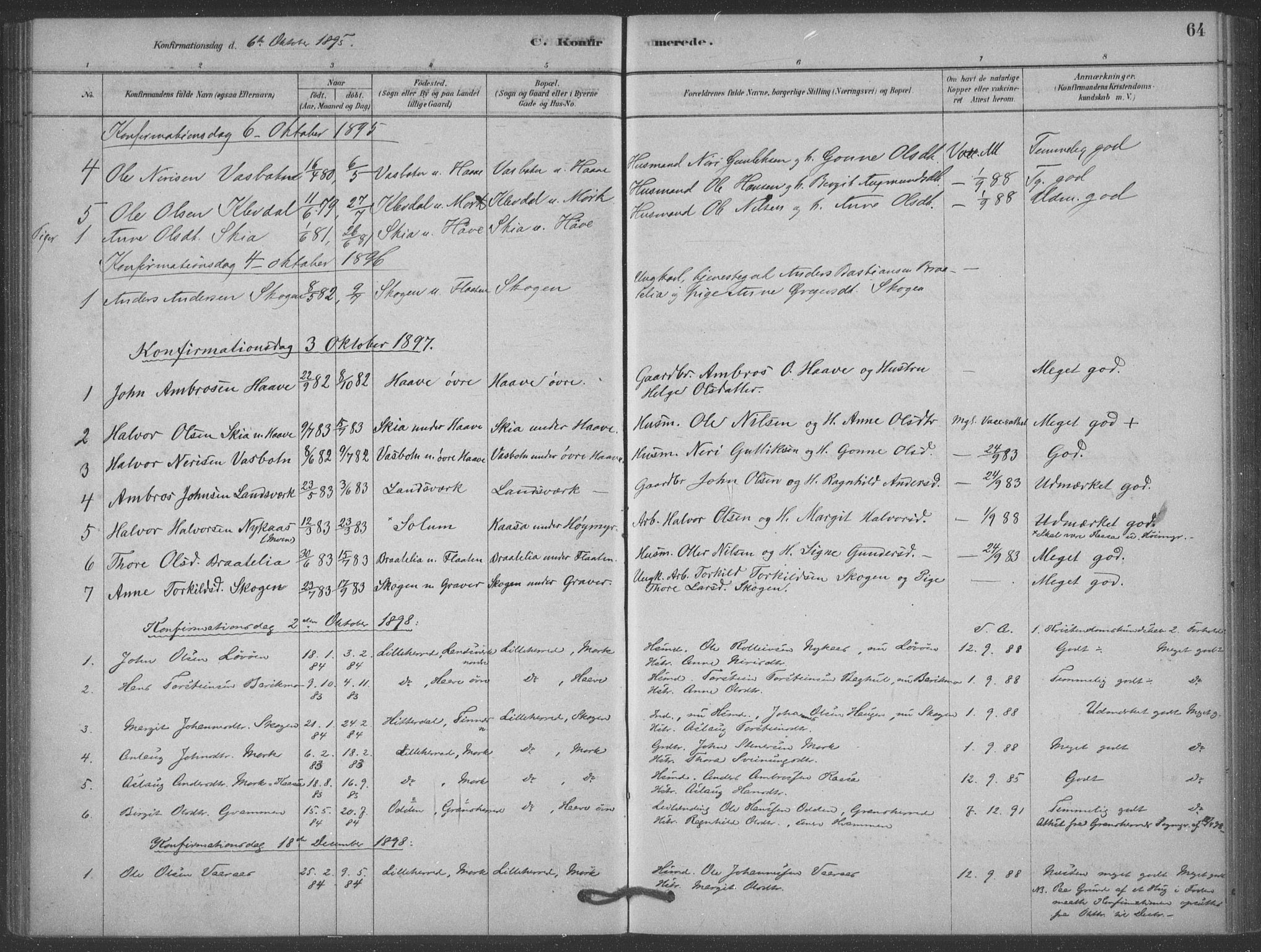 SAKO, Heddal kirkebøker, F/Fb/L0002: Ministerialbok nr. II 2, 1878-1913, s. 64