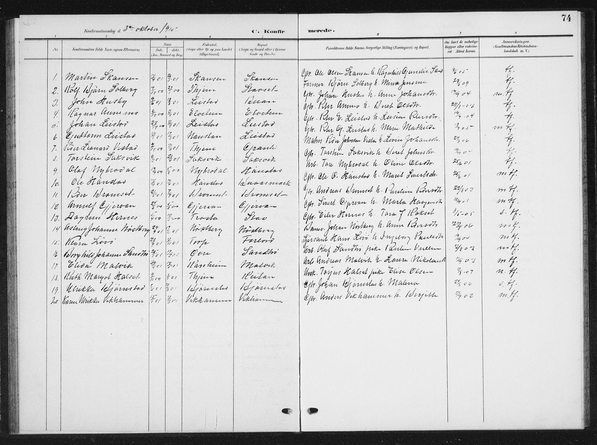 SAT, Ministerialprotokoller, klokkerbøker og fødselsregistre - Sør-Trøndelag, 616/L0424: Klokkerbok nr. 616C07, 1904-1940, s. 74
