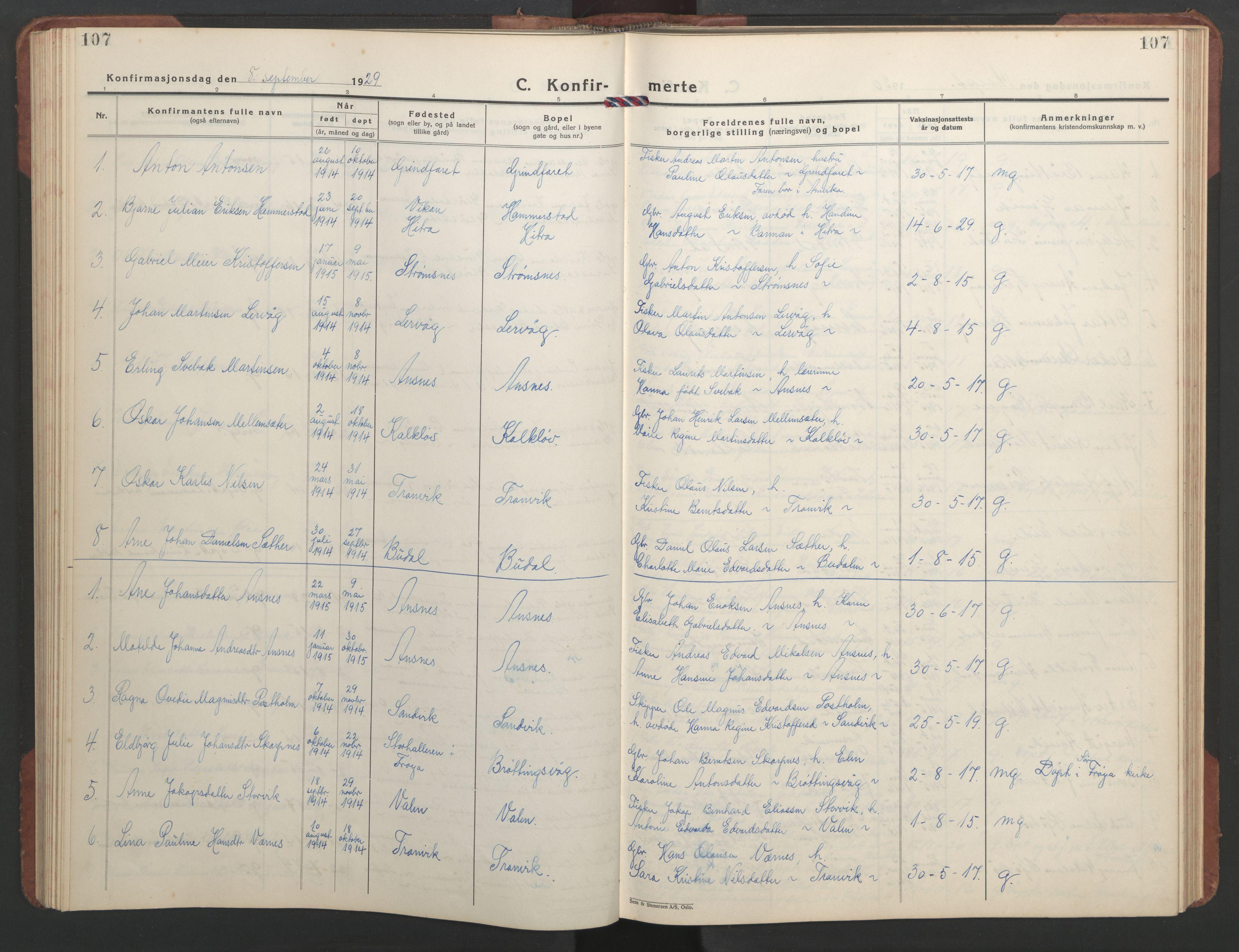 SAT, Ministerialprotokoller, klokkerbøker og fødselsregistre - Sør-Trøndelag, 637/L0564: Klokkerbok nr. 637C05, 1928-1968, s. 107