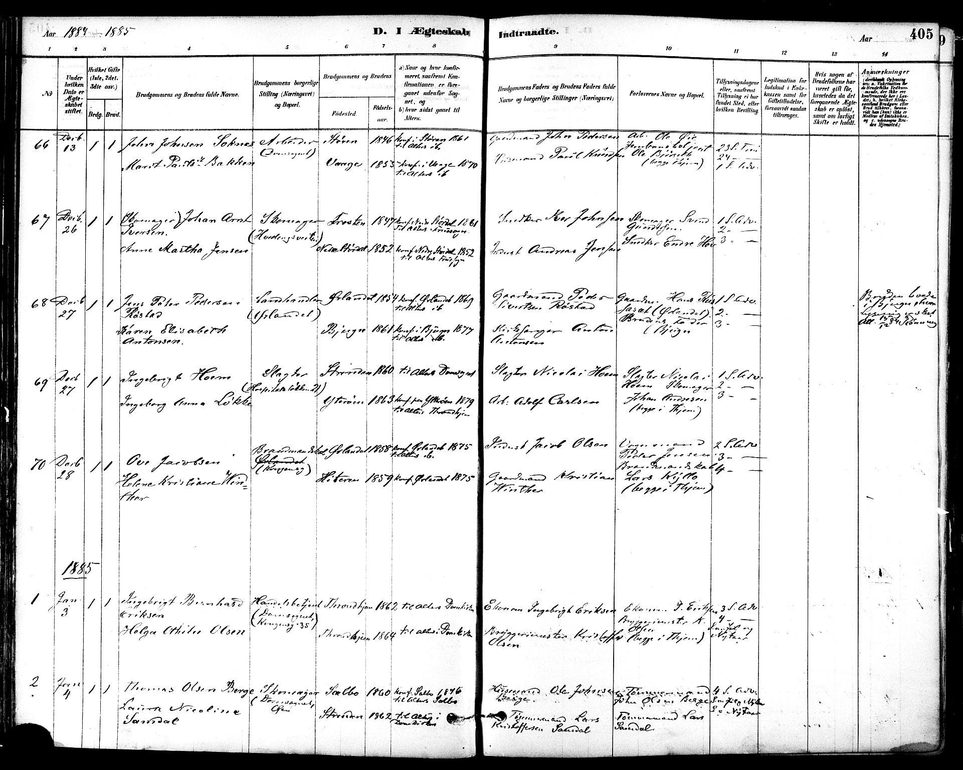SAT, Ministerialprotokoller, klokkerbøker og fødselsregistre - Sør-Trøndelag, 601/L0058: Ministerialbok nr. 601A26, 1877-1891, s. 405
