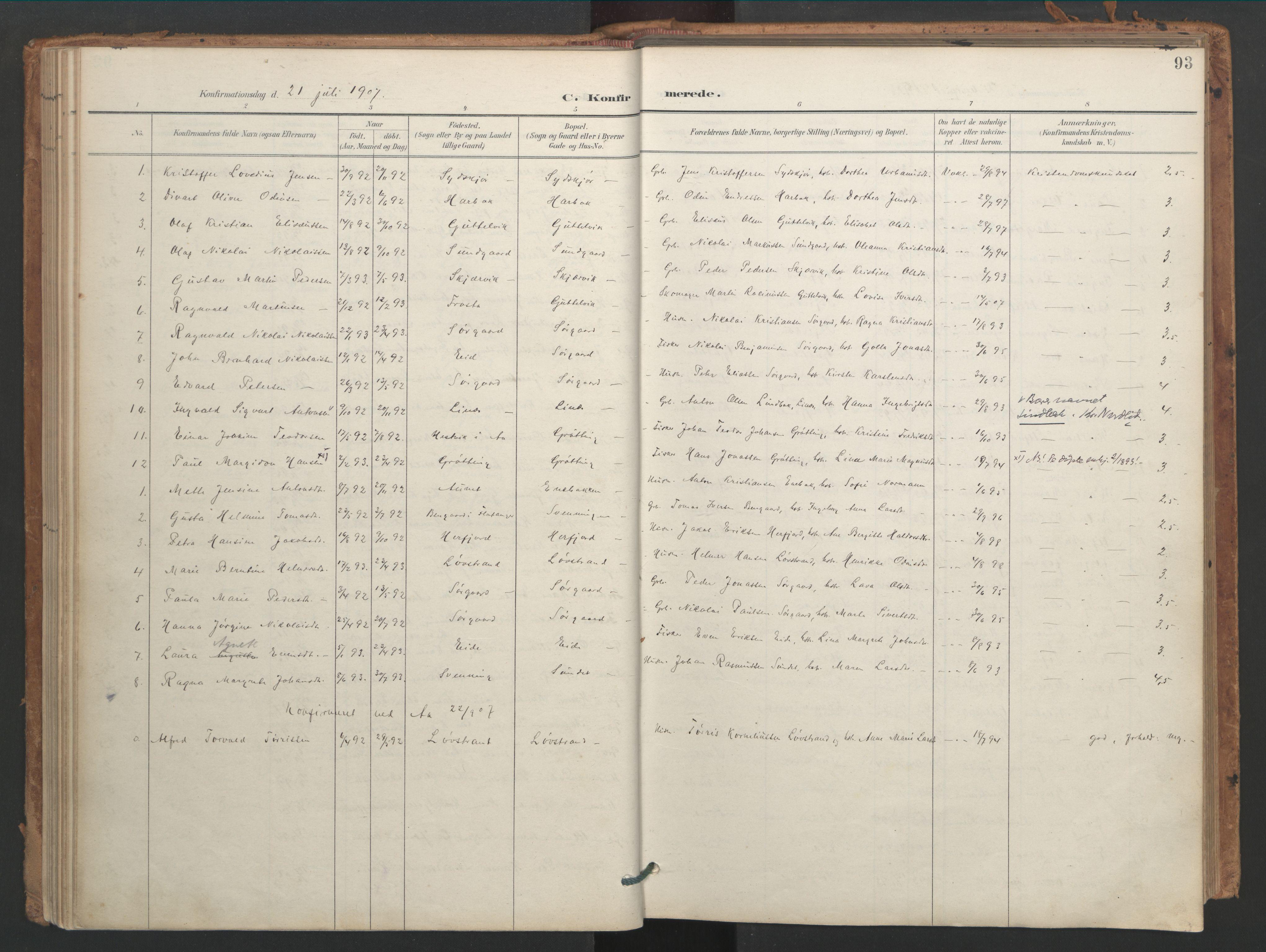 SAT, Ministerialprotokoller, klokkerbøker og fødselsregistre - Sør-Trøndelag, 656/L0693: Ministerialbok nr. 656A02, 1894-1913, s. 93