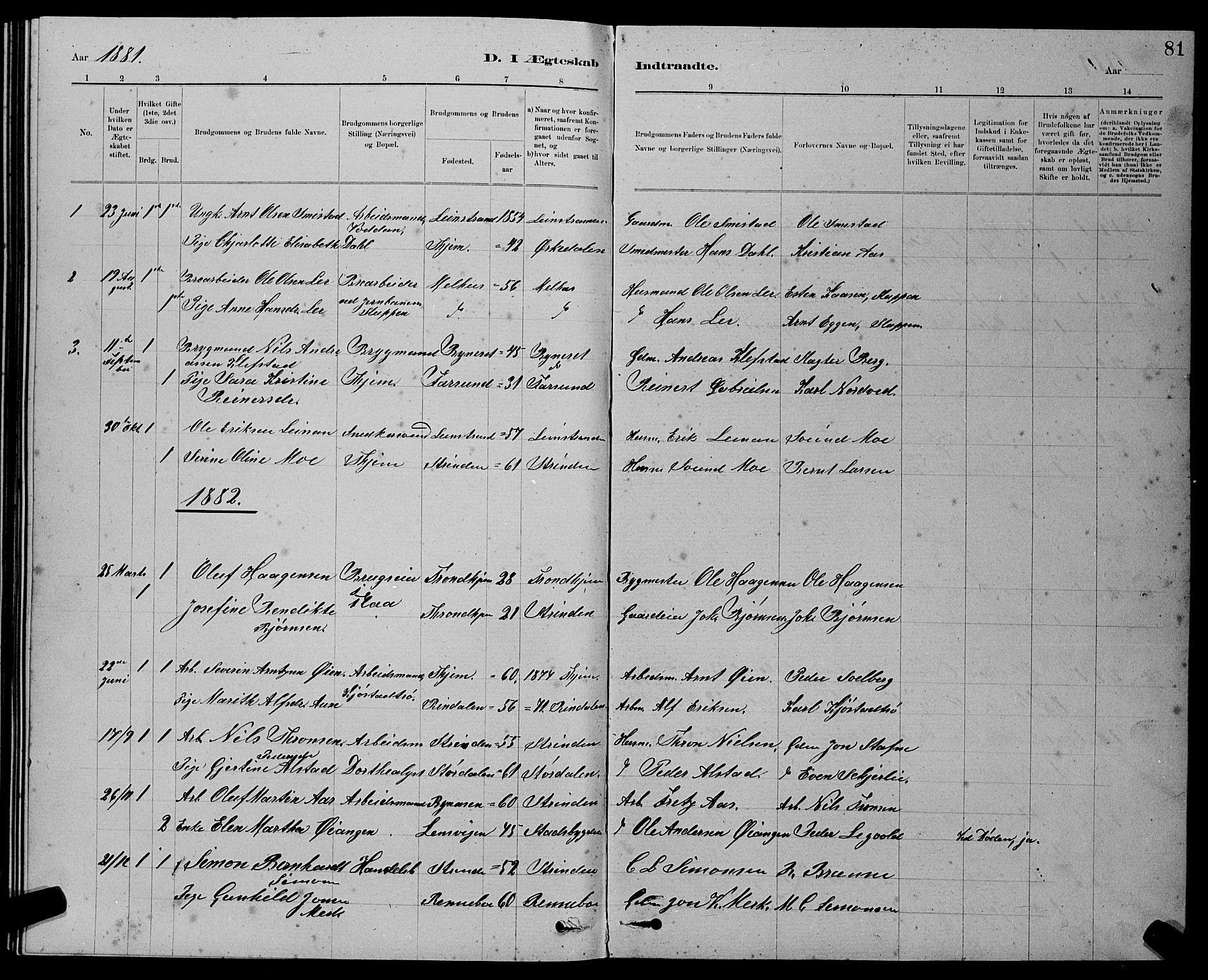 SAT, Ministerialprotokoller, klokkerbøker og fødselsregistre - Sør-Trøndelag, 611/L0354: Klokkerbok nr. 611C02, 1881-1896, s. 81