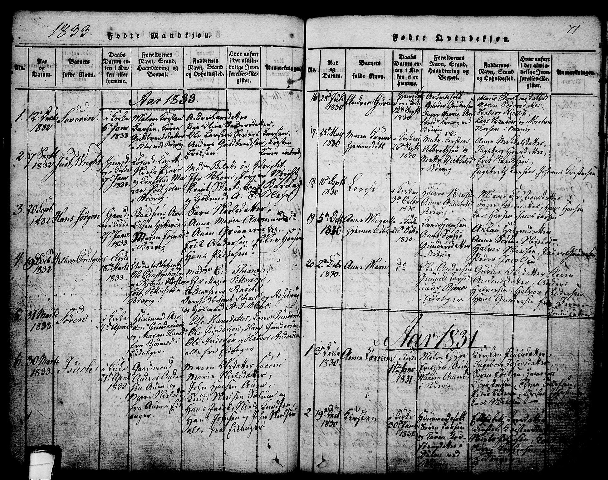 SAKO, Brevik kirkebøker, G/Ga/L0001: Klokkerbok nr. 1, 1814-1845, s. 71