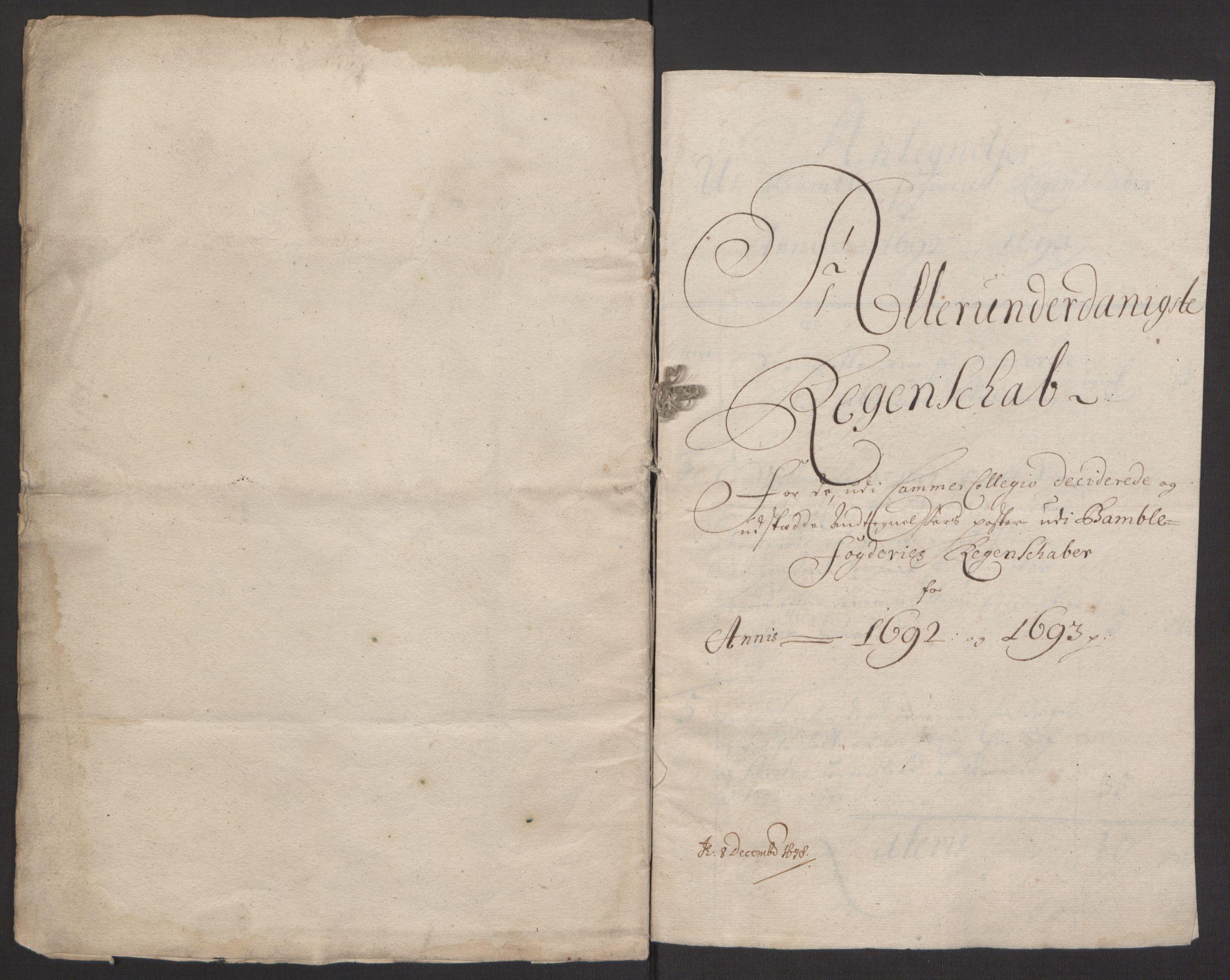 RA, Rentekammeret inntil 1814, Reviderte regnskaper, Fogderegnskap, R34/L2052: Fogderegnskap Bamble, 1692-1693, s. 292