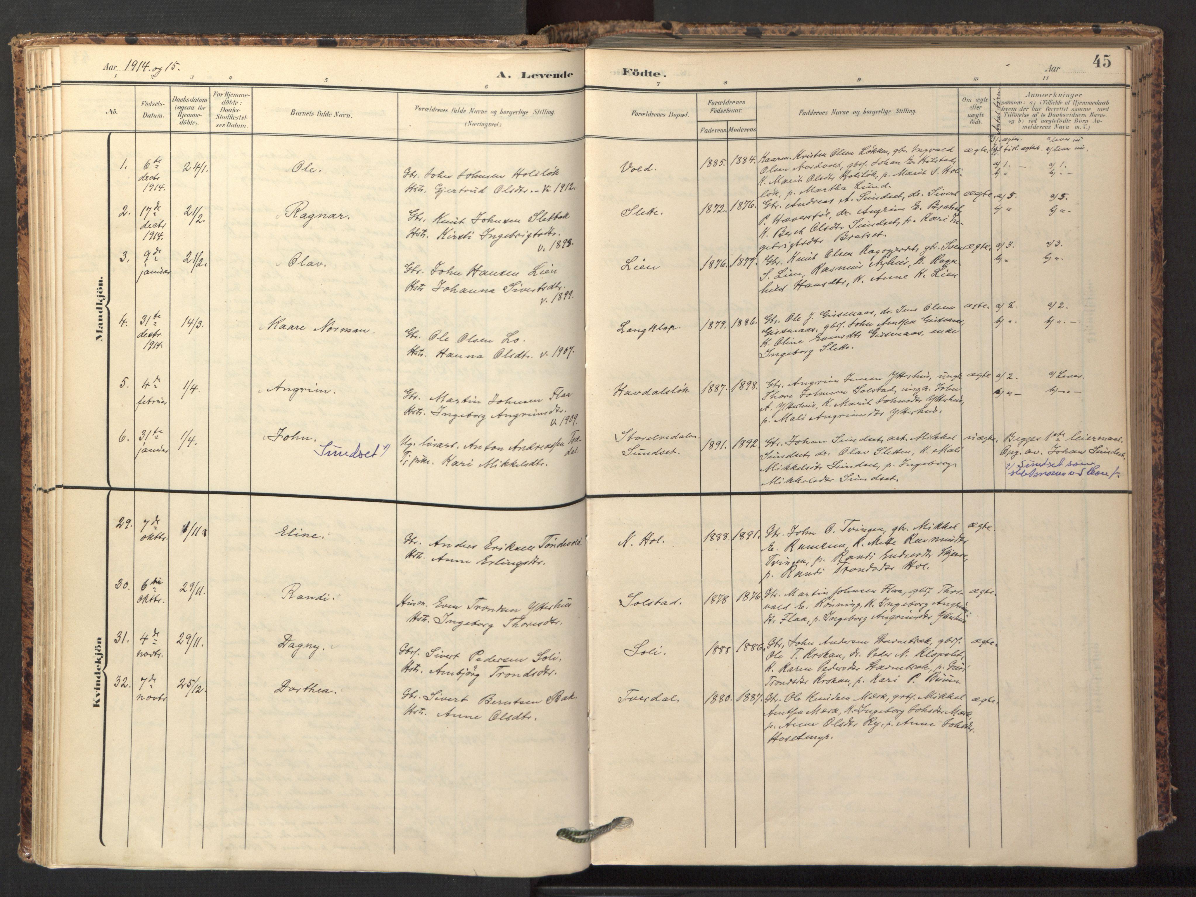 SAT, Ministerialprotokoller, klokkerbøker og fødselsregistre - Sør-Trøndelag, 674/L0873: Ministerialbok nr. 674A05, 1908-1923, s. 45