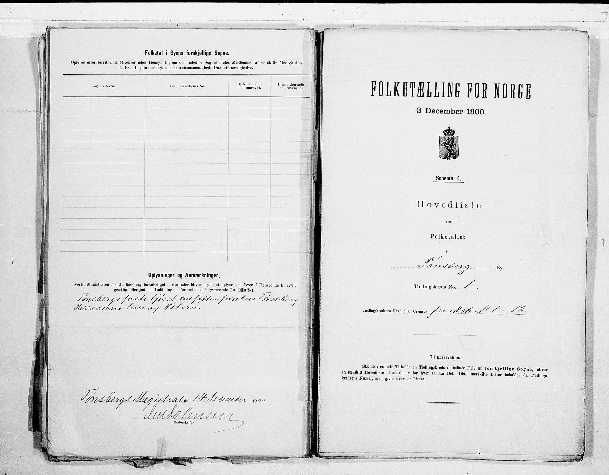 RA, Folketelling 1900 for 0705 Tønsberg kjøpstad, 1900, s. 4