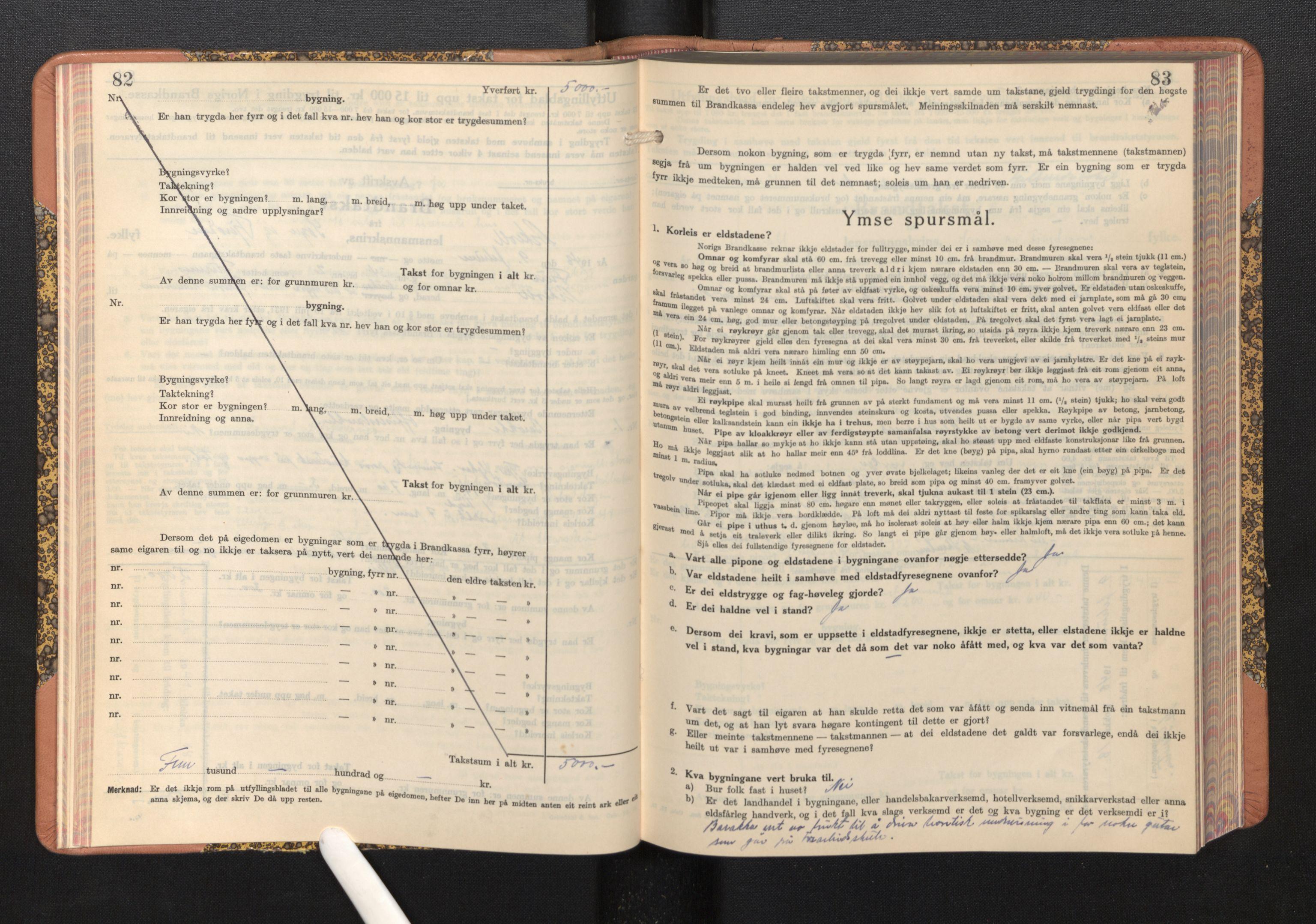 SAB, Lensmannen i Askvoll, 0012/L0005: Branntakstprotokoll, skjematakst, 1940-1949, s. 82-83