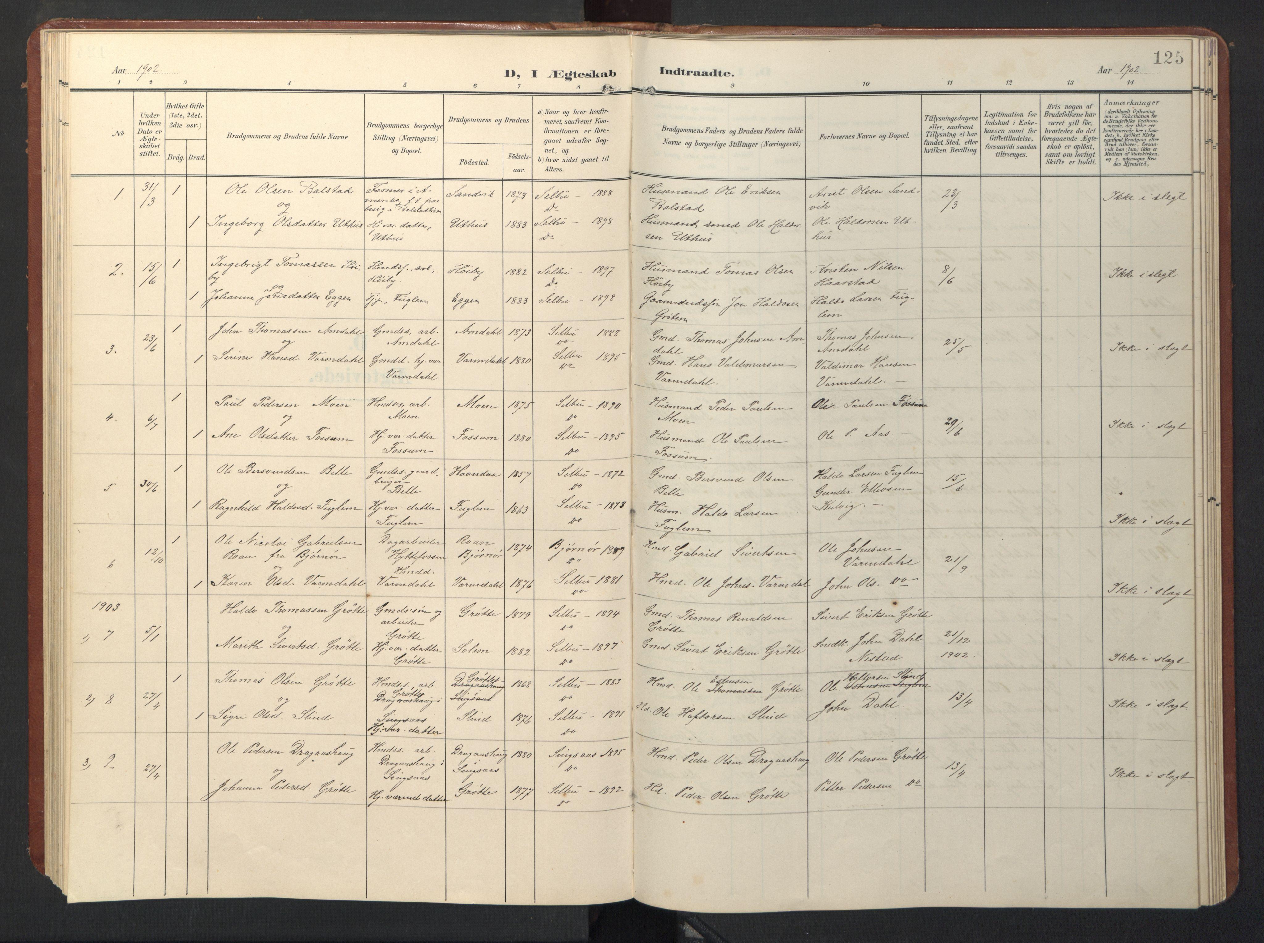 SAT, Ministerialprotokoller, klokkerbøker og fødselsregistre - Sør-Trøndelag, 696/L1161: Klokkerbok nr. 696C01, 1902-1950, s. 125