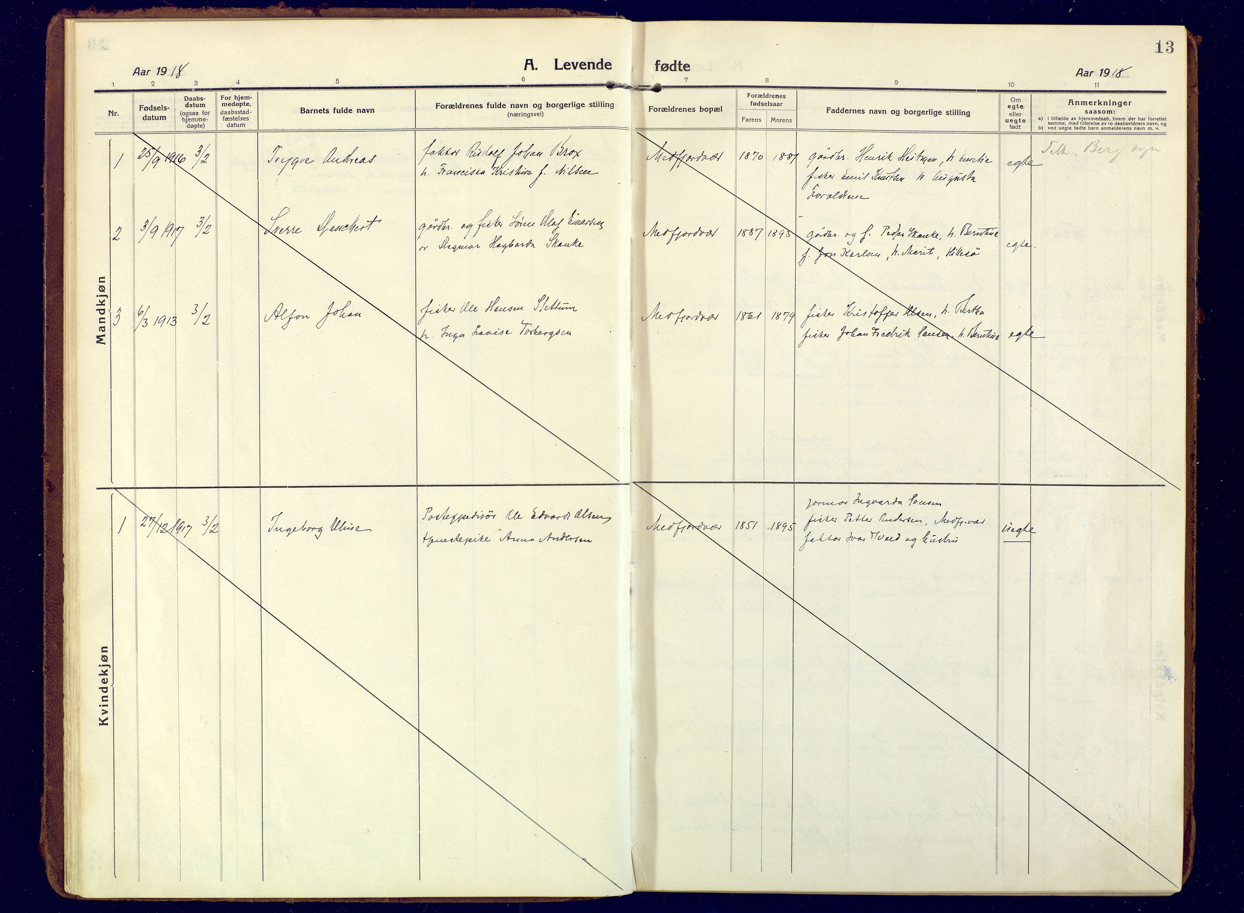 SATØ, Mefjord/Berg sokneprestkontor, G/Ga/Gaa: Ministerialbok nr. 10, 1916-1928, s. 13