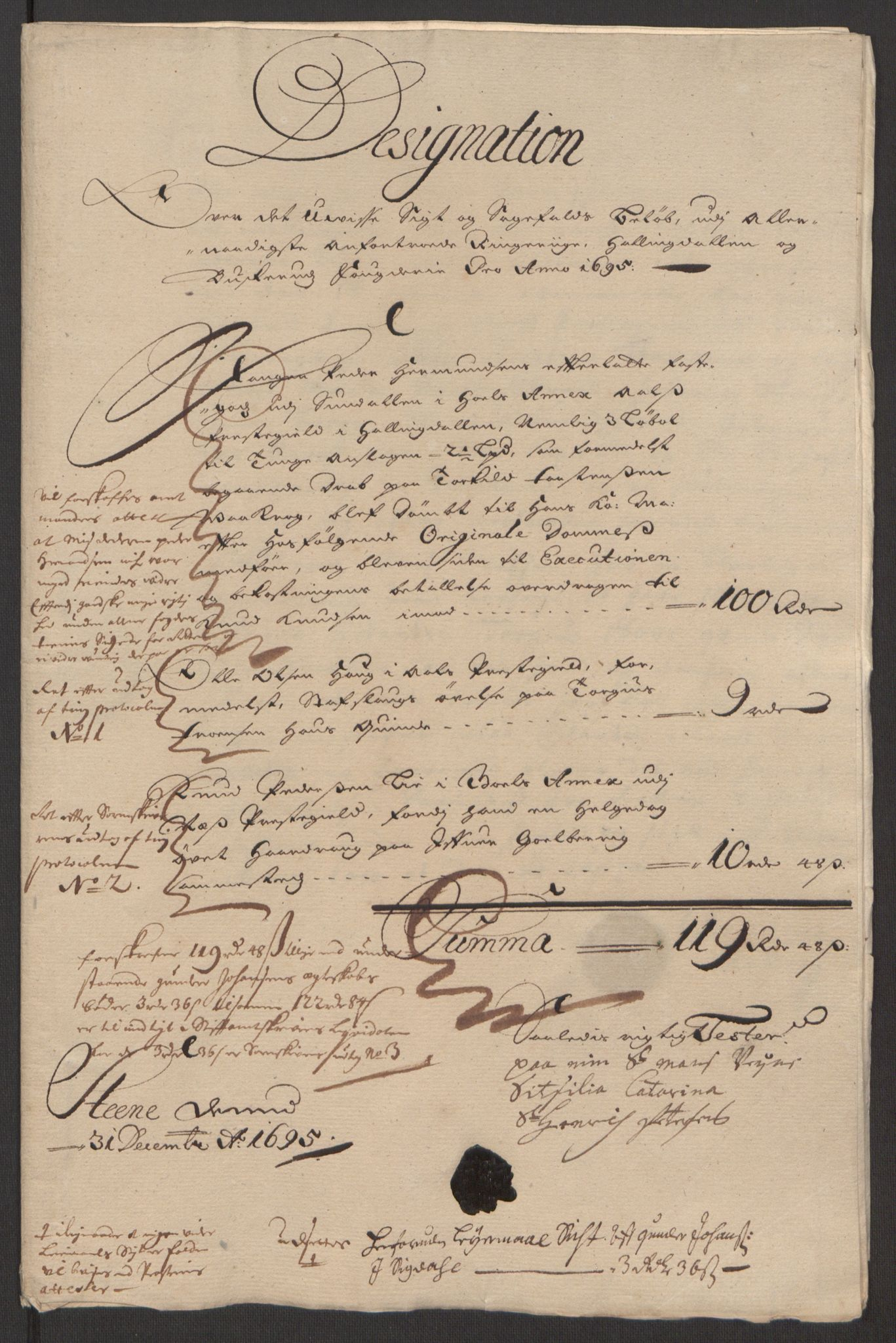 RA, Rentekammeret inntil 1814, Reviderte regnskaper, Fogderegnskap, R22/L1452: Fogderegnskap Ringerike, Hallingdal og Buskerud, 1695, s. 215