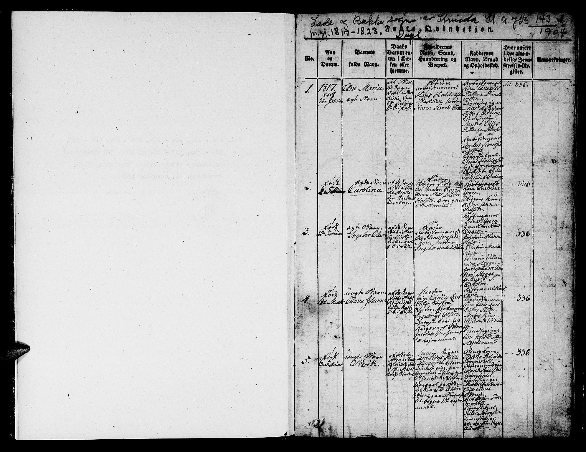 SAT, Ministerialprotokoller, klokkerbøker og fødselsregistre - Sør-Trøndelag, 606/L0307: Klokkerbok nr. 606C03, 1817-1824, s. 1