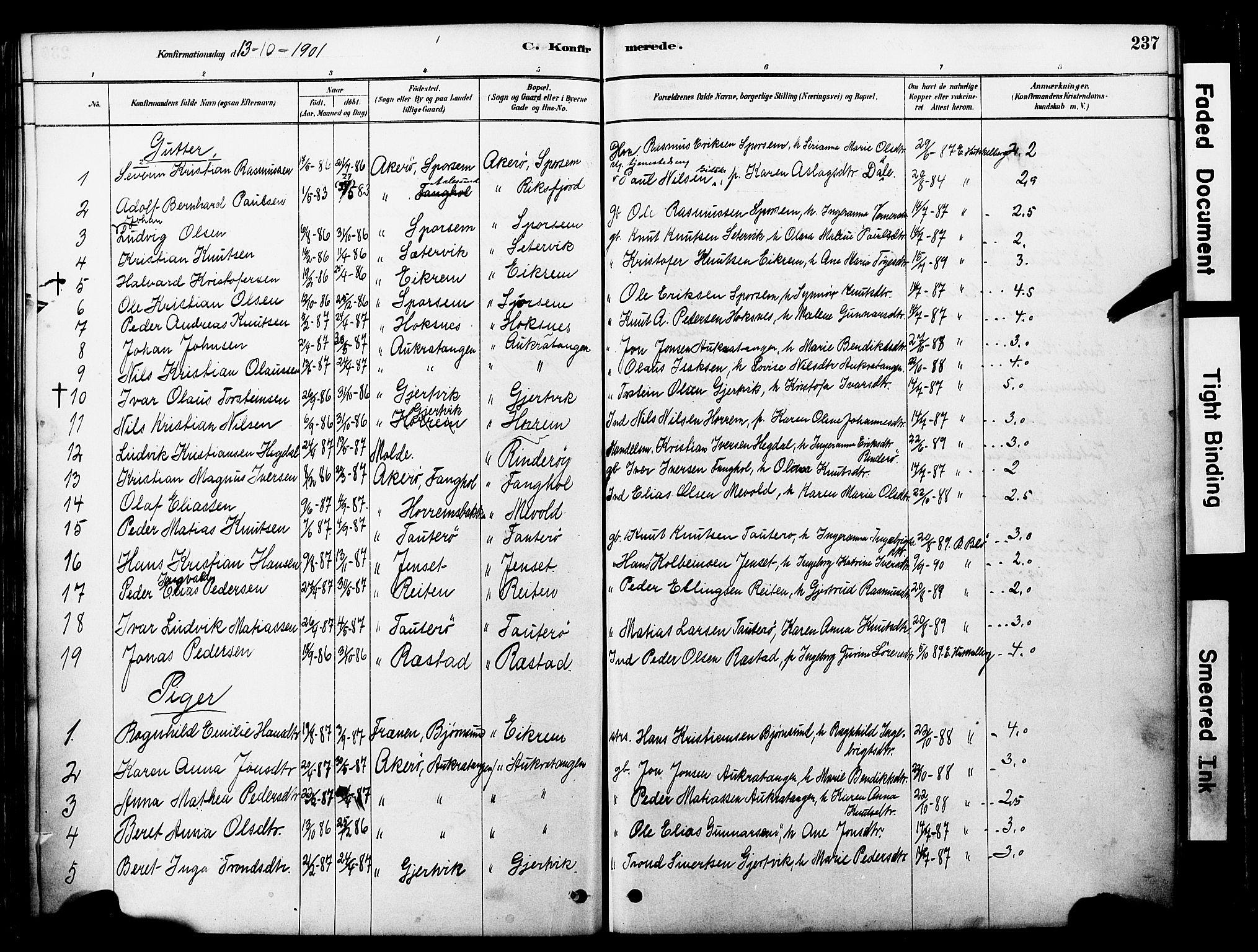 SAT, Ministerialprotokoller, klokkerbøker og fødselsregistre - Møre og Romsdal, 560/L0721: Ministerialbok nr. 560A05, 1878-1917, s. 237