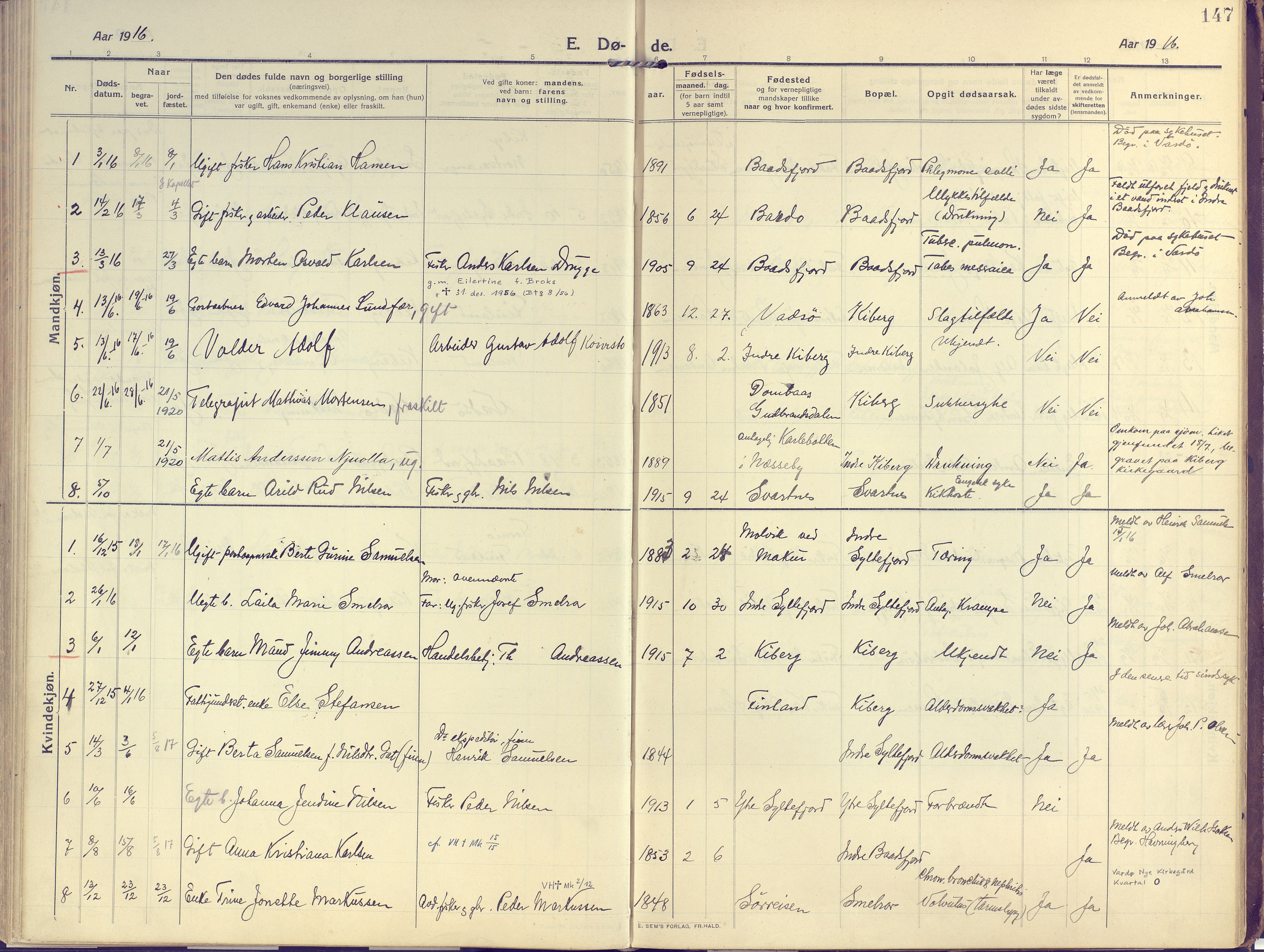 SATØ, Vardø sokneprestkontor, H/Ha/L0013kirke: Ministerialbok nr. 13, 1912-1928, s. 147
