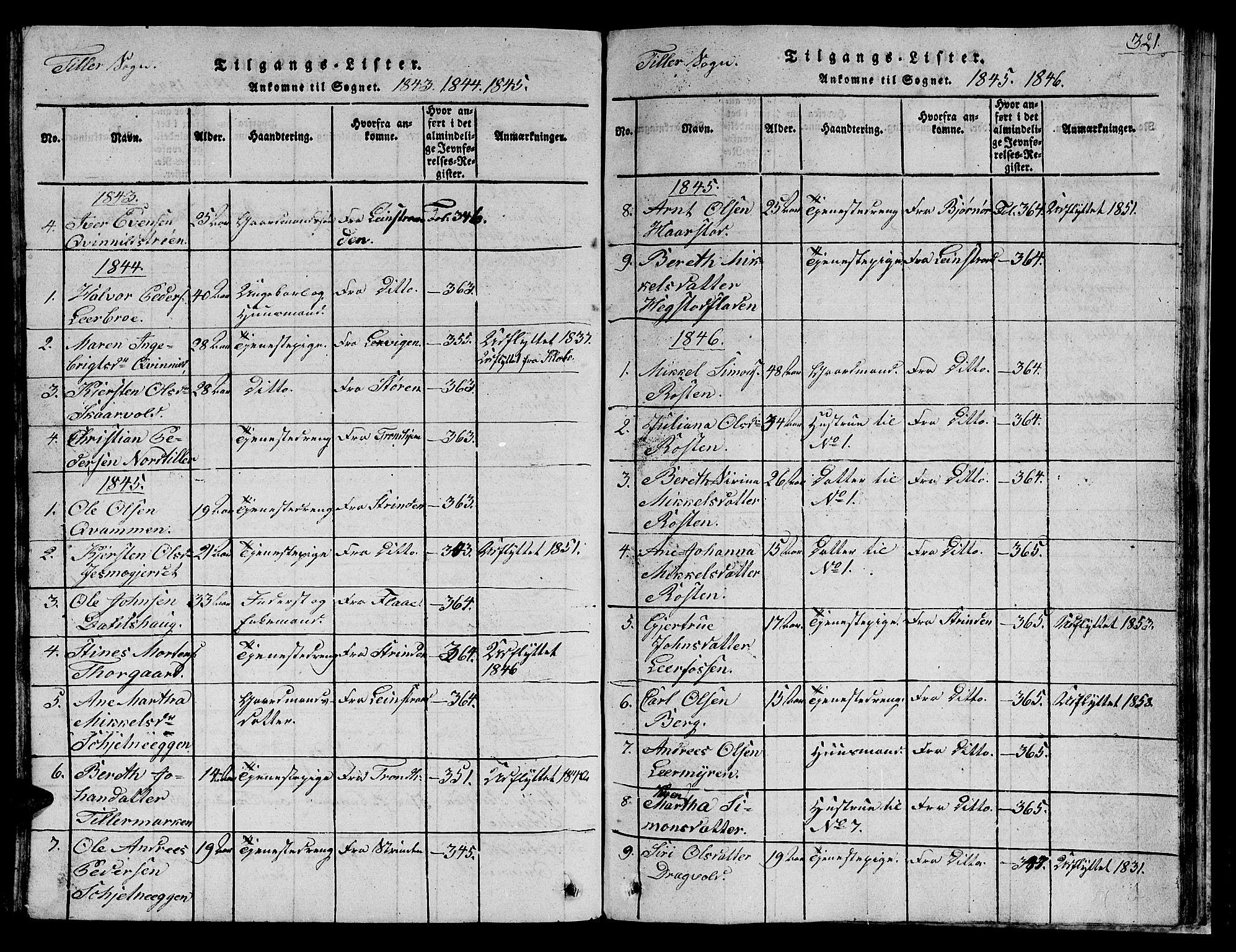 SAT, Ministerialprotokoller, klokkerbøker og fødselsregistre - Sør-Trøndelag, 621/L0458: Klokkerbok nr. 621C01, 1816-1865, s. 321