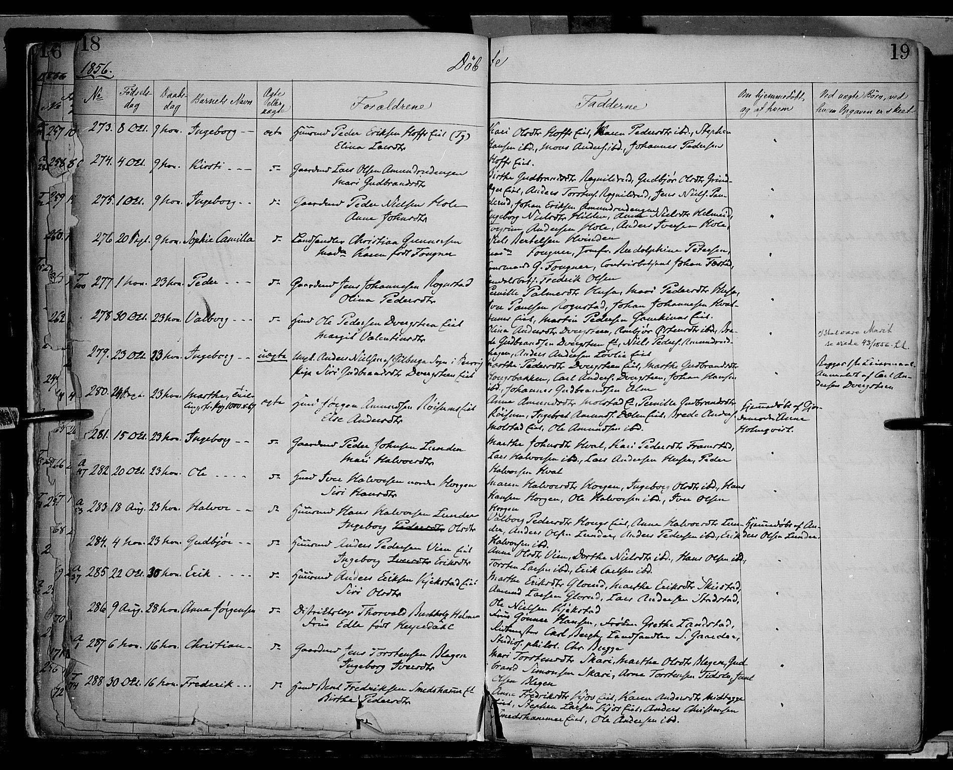 SAH, Gran prestekontor, Ministerialbok nr. 12, 1856-1874, s. 18-19