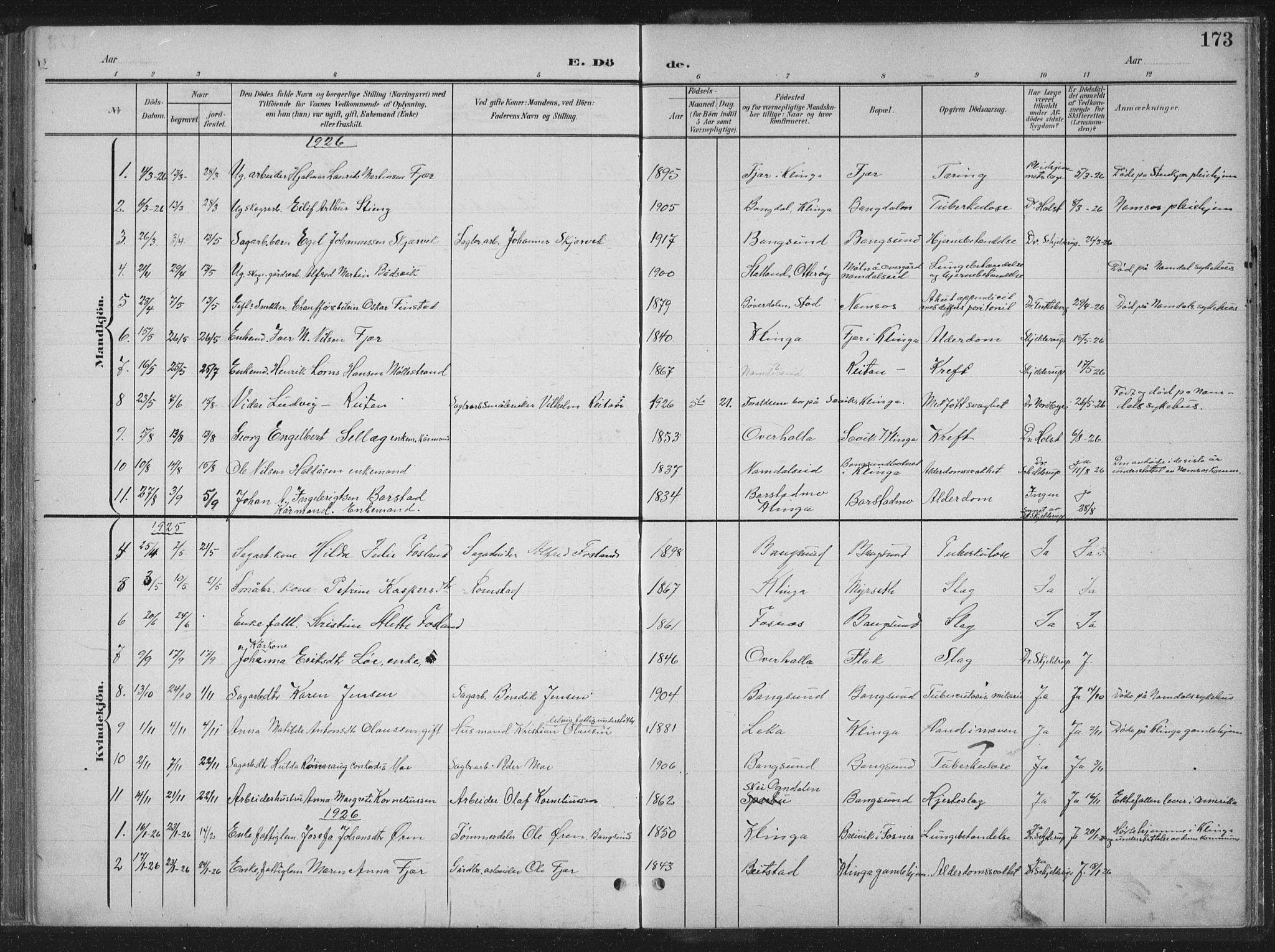 SAT, Ministerialprotokoller, klokkerbøker og fødselsregistre - Nord-Trøndelag, 770/L0591: Klokkerbok nr. 770C02, 1902-1940, s. 173